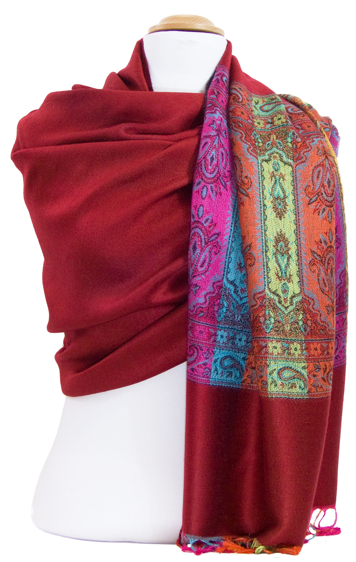 Etole pashmina rouge tissage multicolore
