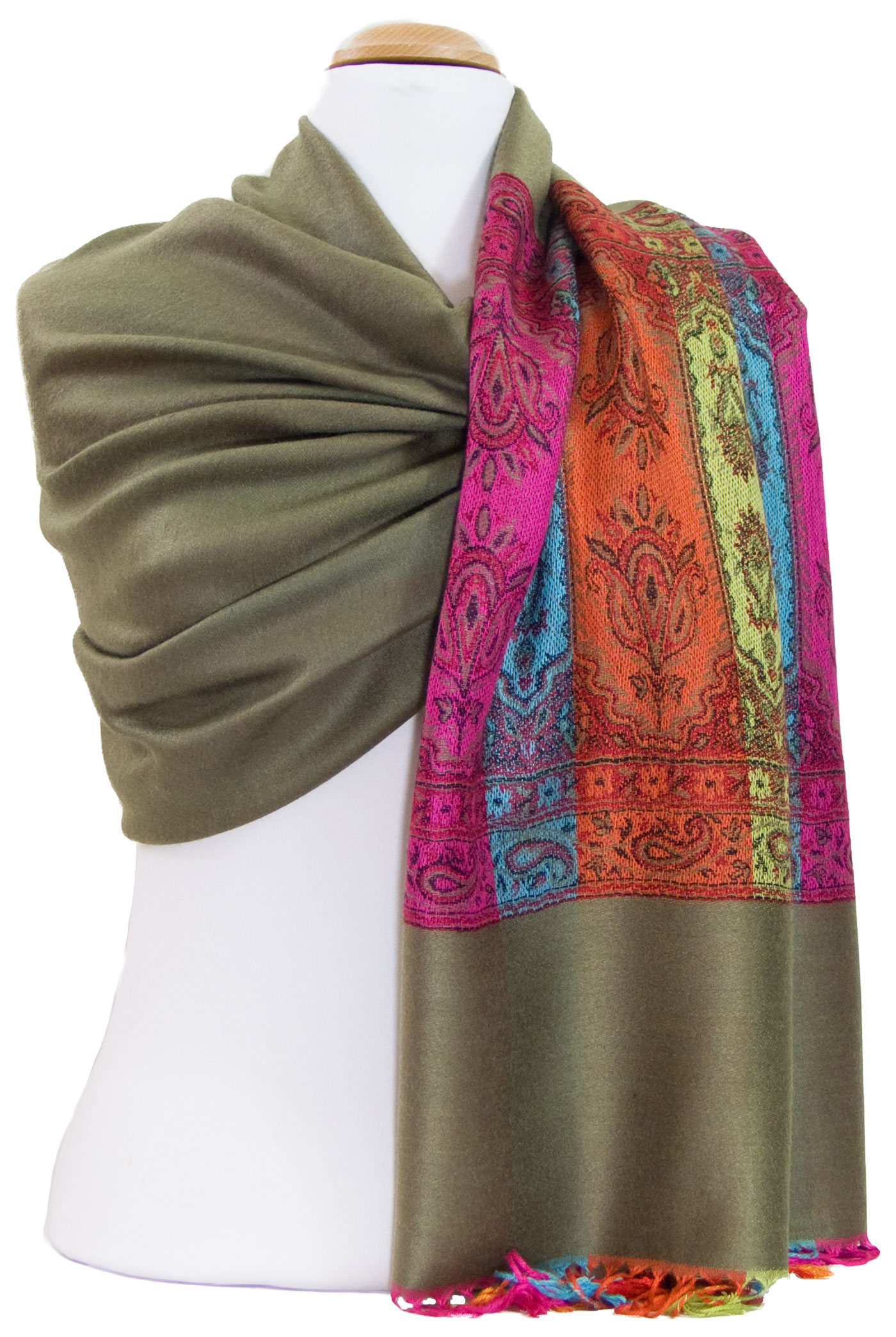 Etole pashmina kaki tissage multicolore
