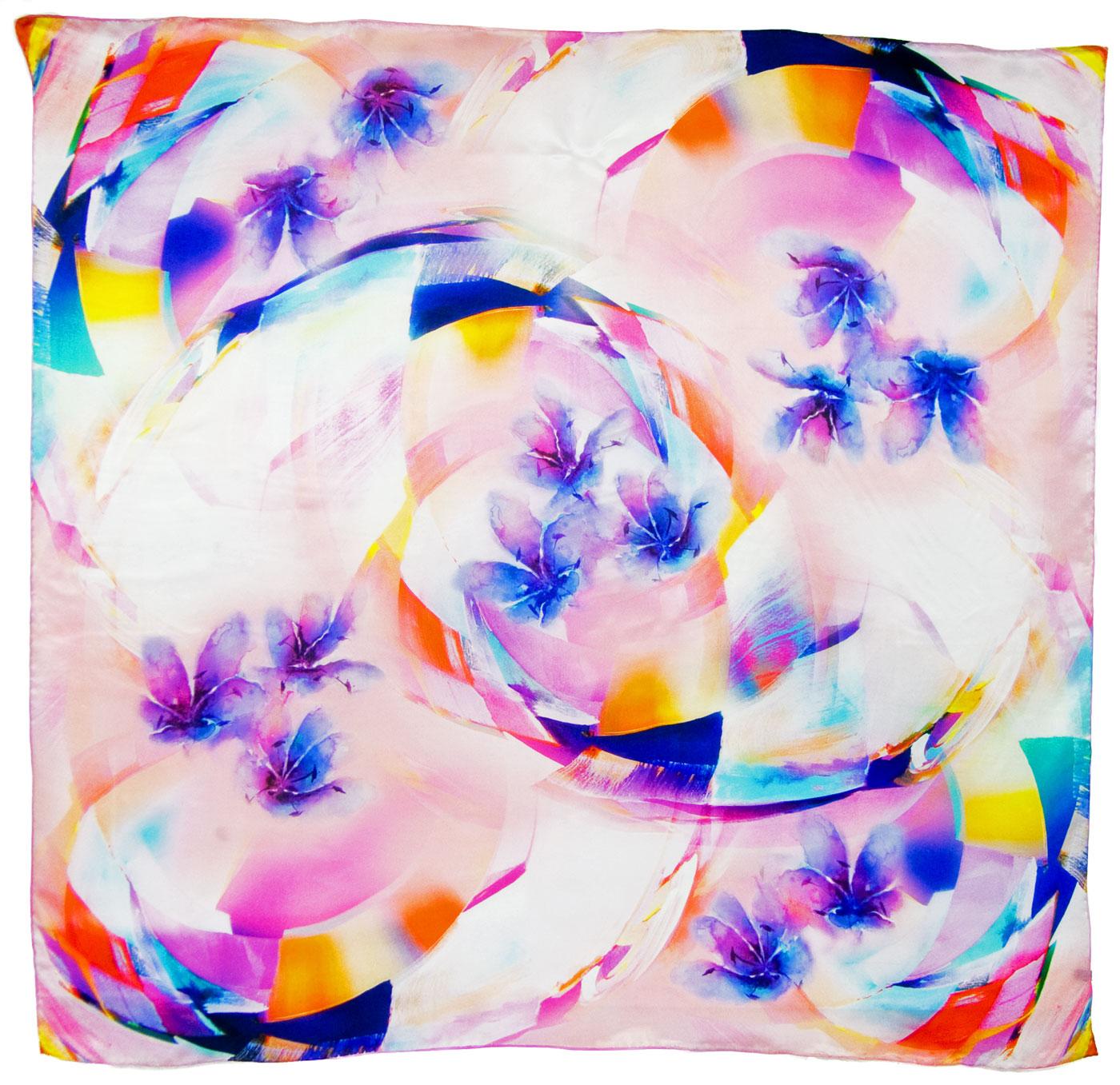 Carré de soie rose tourbillons 110 x 110 cm premium