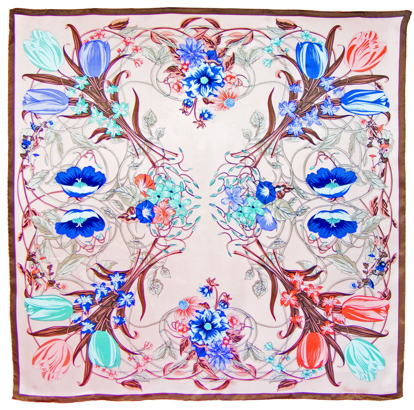 Carré de soie rose tulipes 110 x 110 cm premium