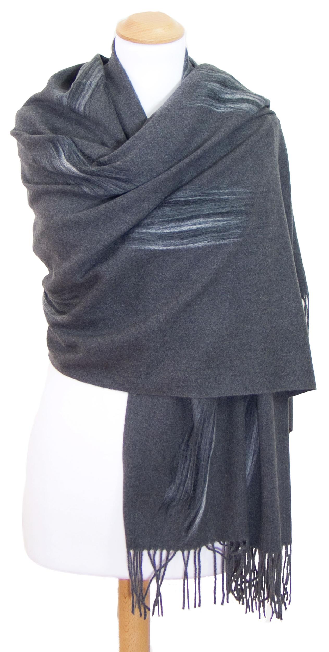 Etole grise cachemire laine Plume