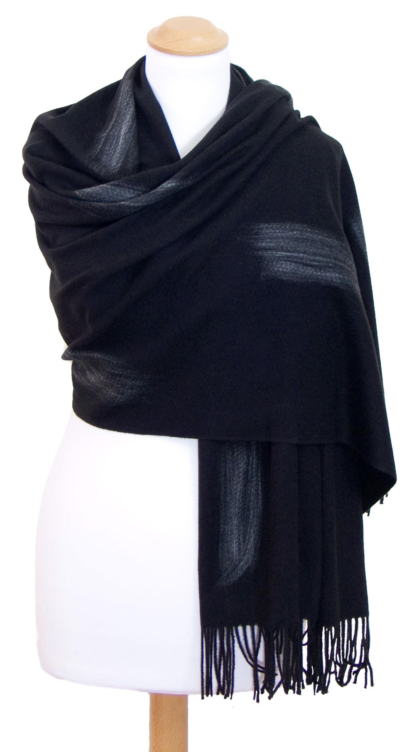 Etole noir cachemire laine Plume
