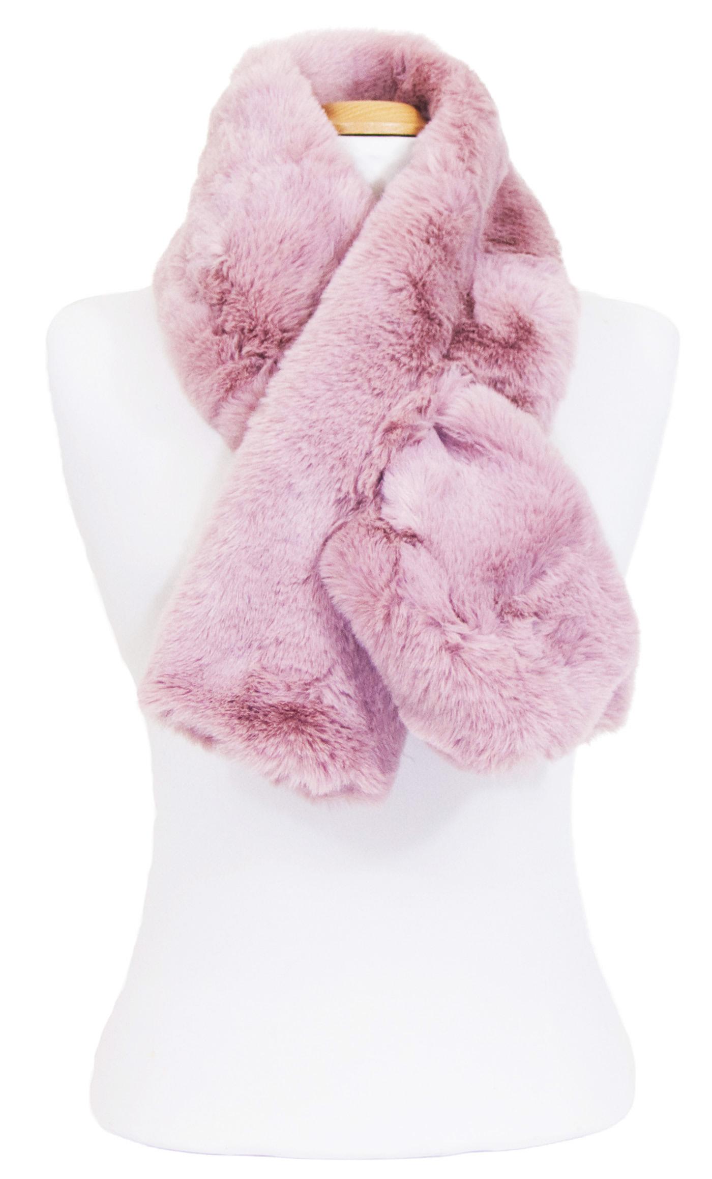 écharpe femme rouge rose  fourrure 4