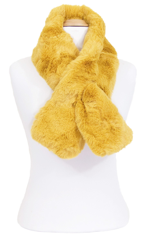 écharpe femme jaune fausse fourrure 4