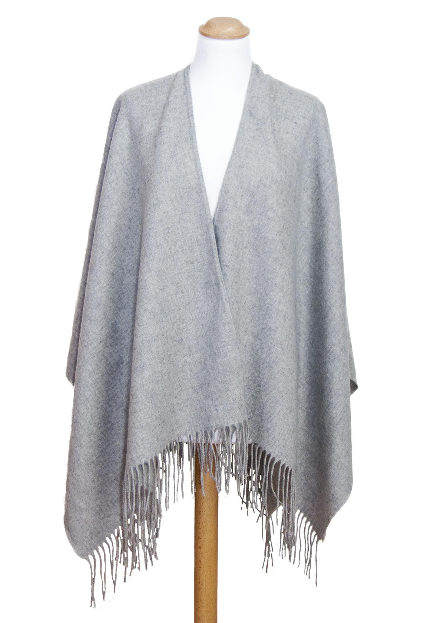 Poncho gris cachemire laine
