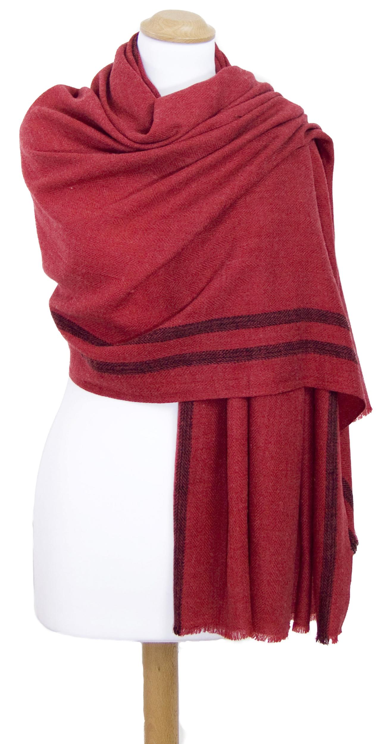 Etole laine fine rouge tissée avec rayures