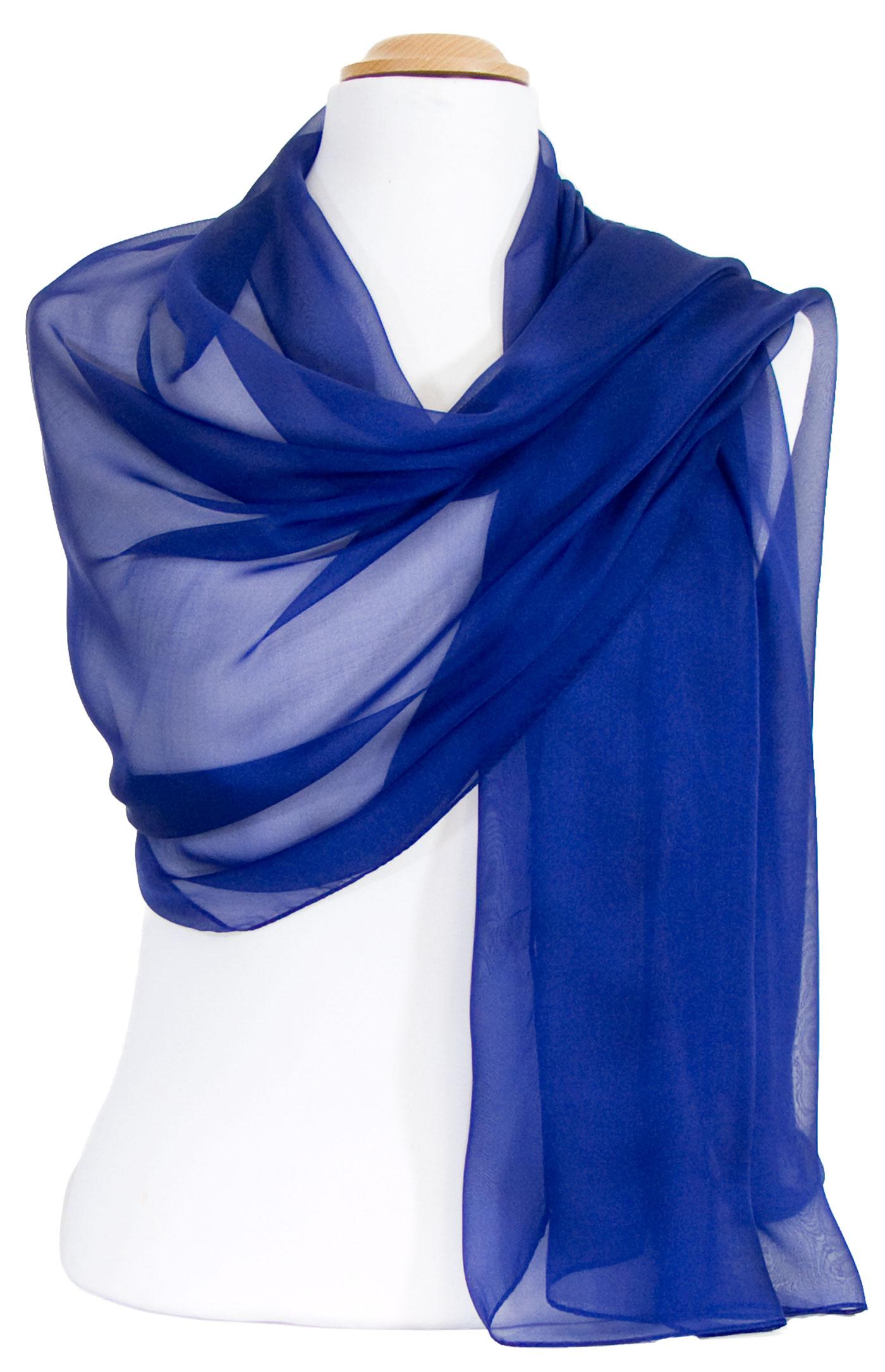 étole bleu marine mousseline de soie