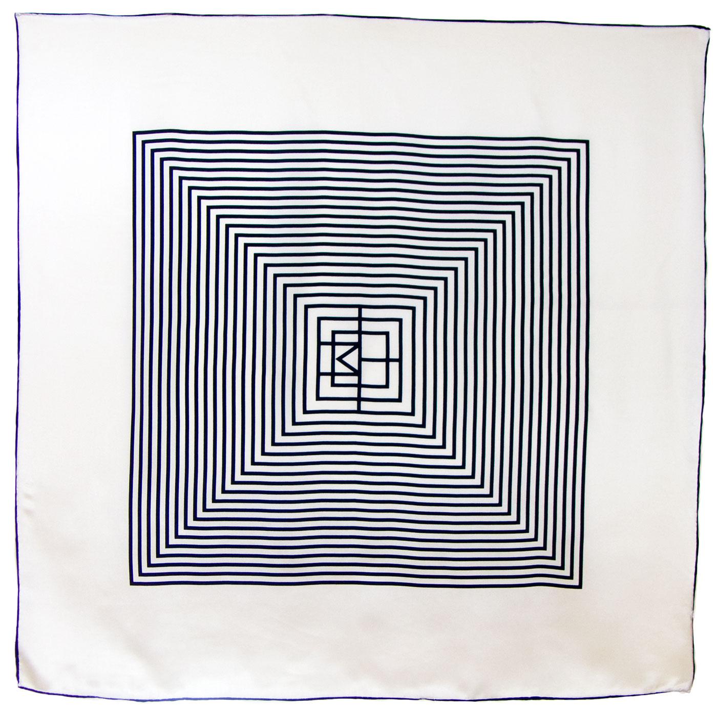 Foulard carré en soie écru graphique premium