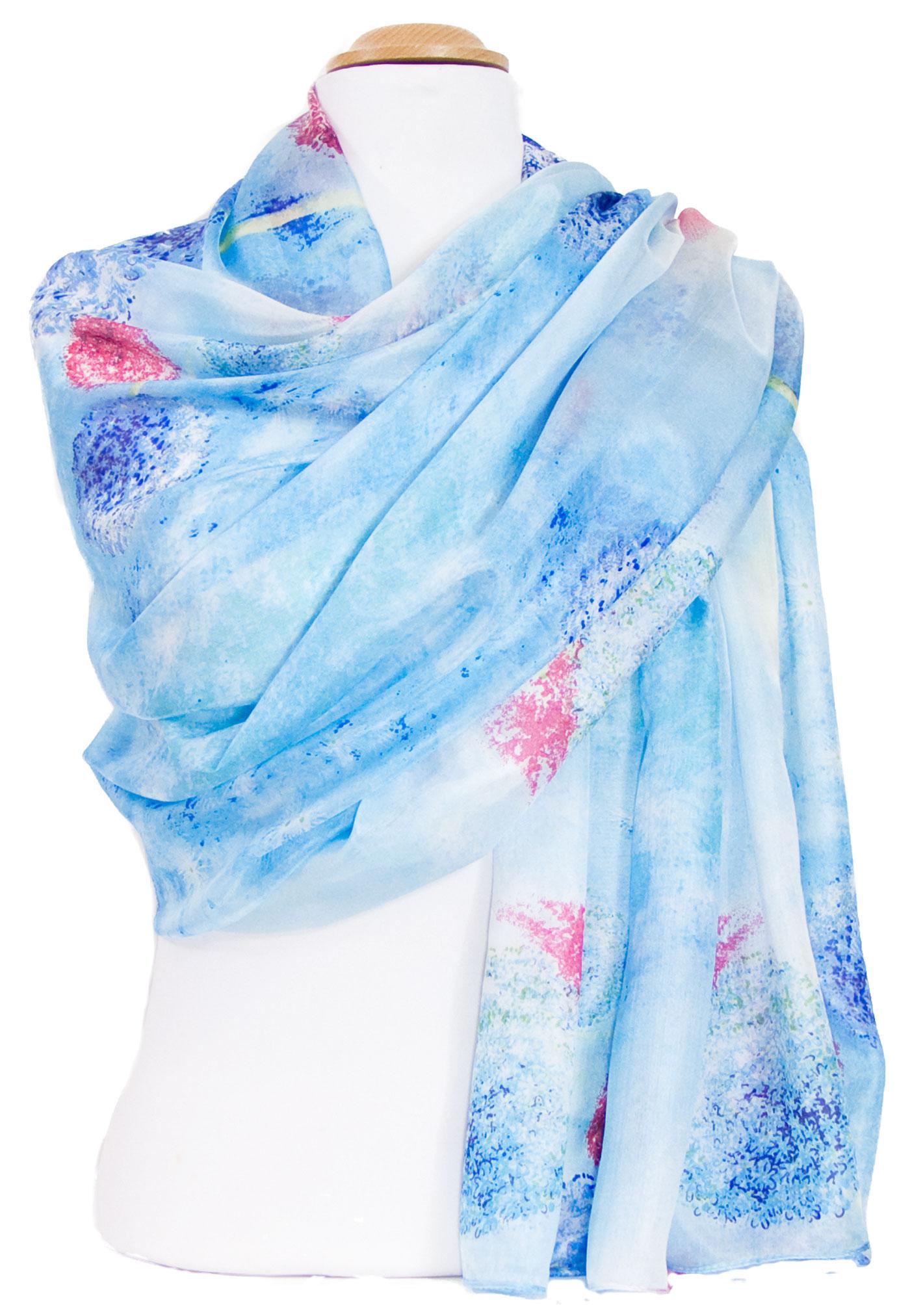 étole femme en soie hortensias bleu