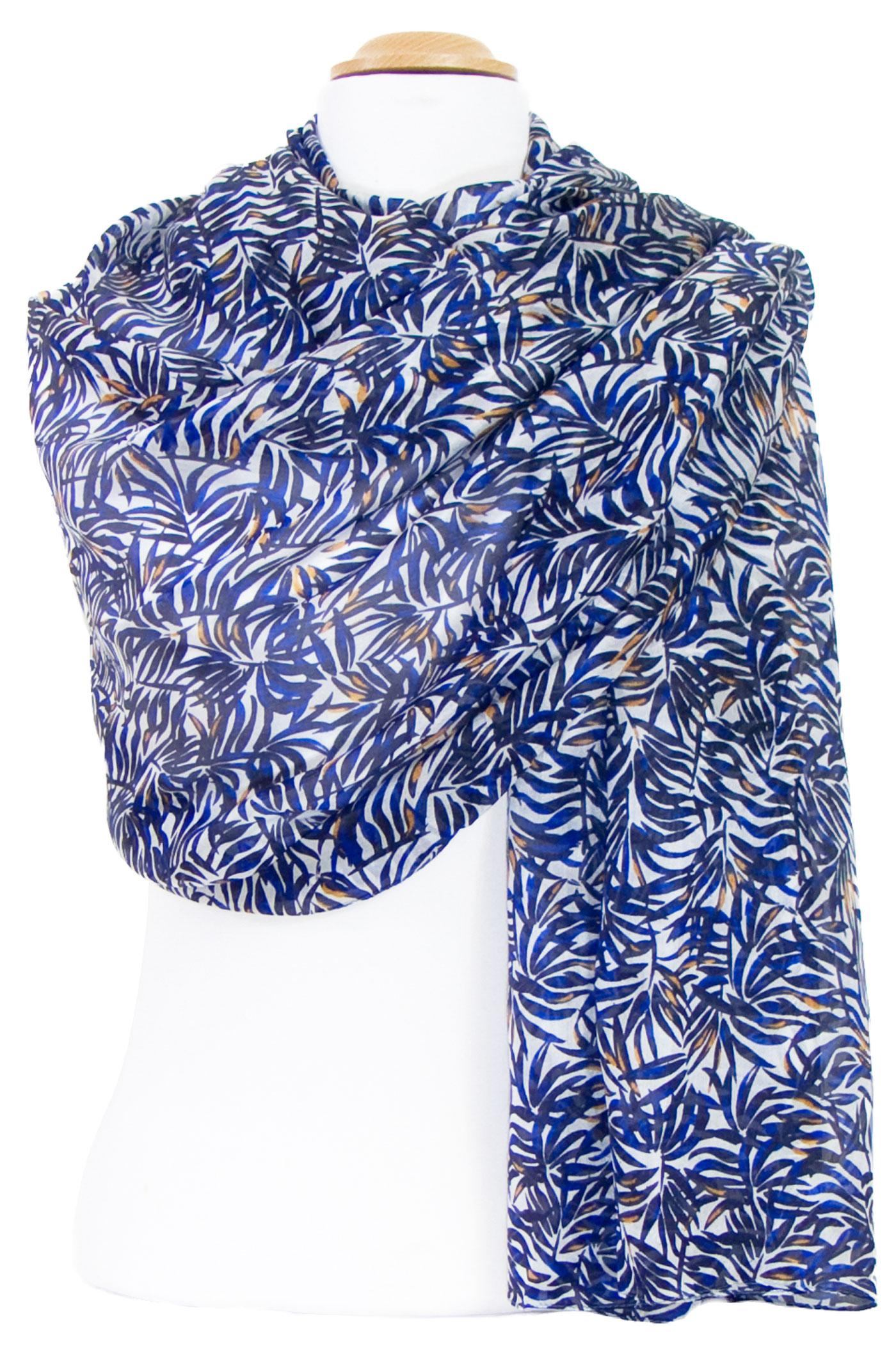 Etole soie bleu marine feuilles