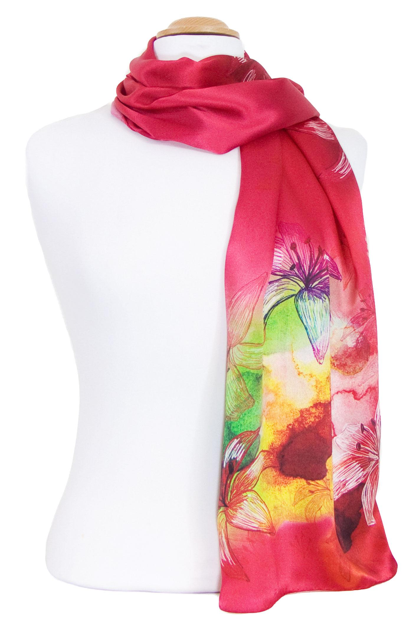 Foulard écharpe soie rouge fleurs de lys