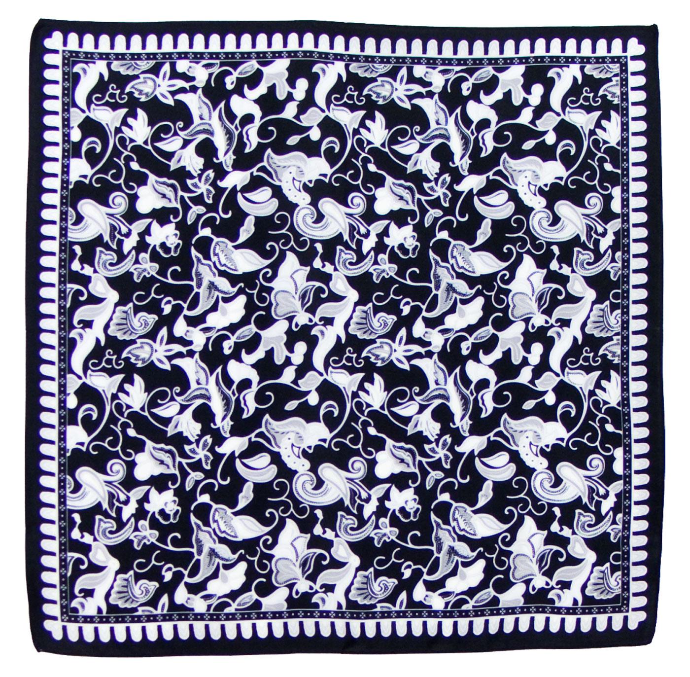 Foulard en soie carré noir Satya 50 x 50 cm