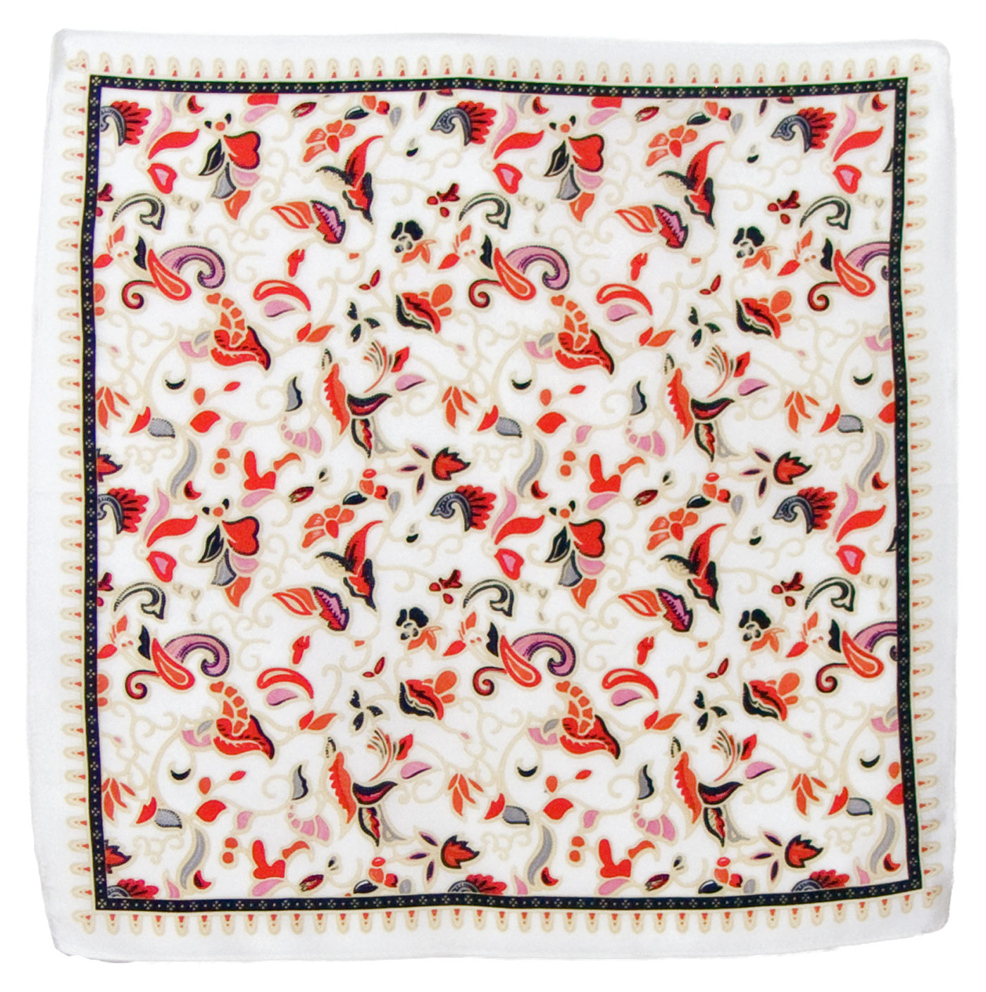 Foulard en soie carré écru Satya 50 x 50 cm