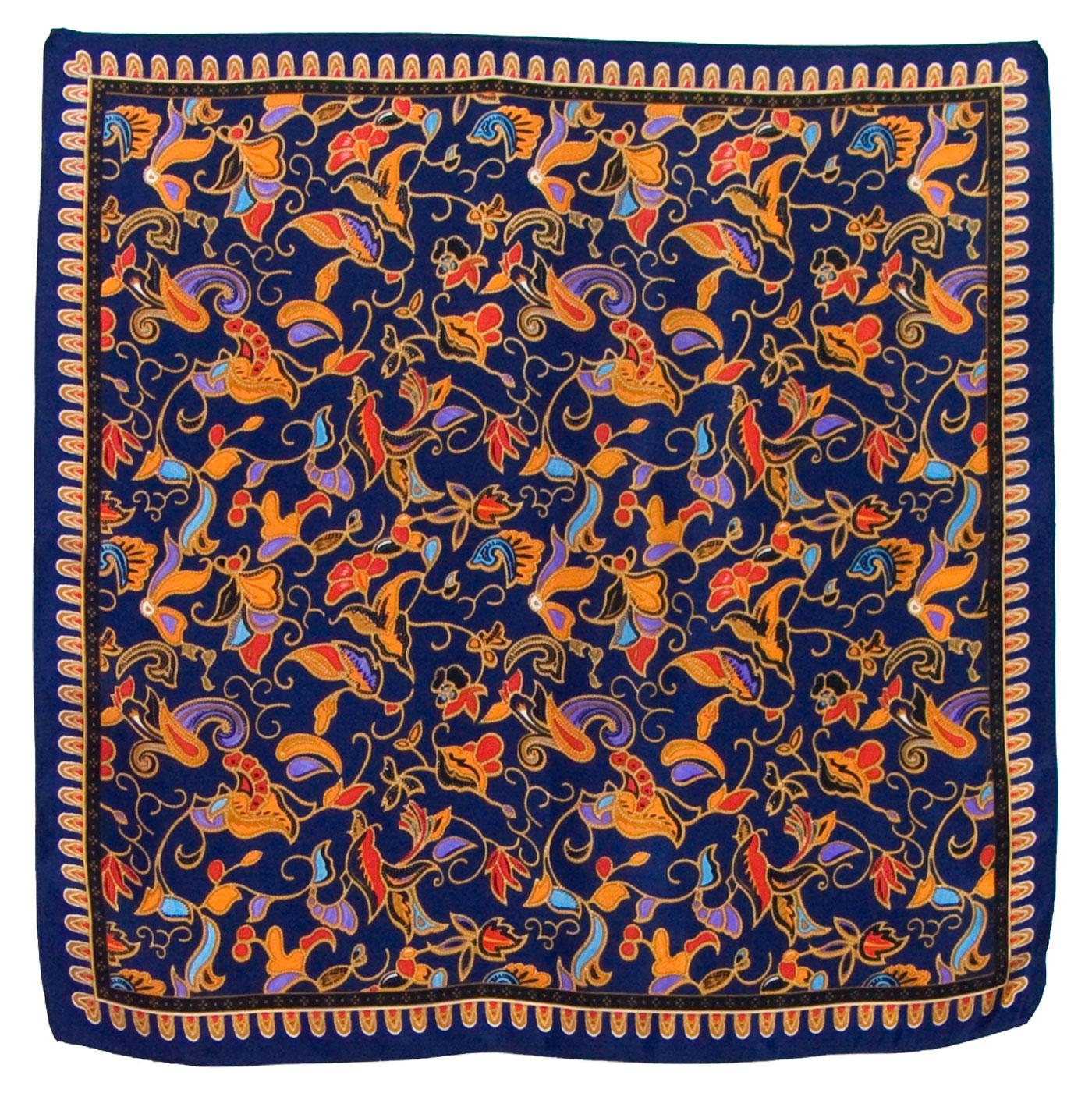 Foulard en soie carré marine Satya 50 x 50 cm