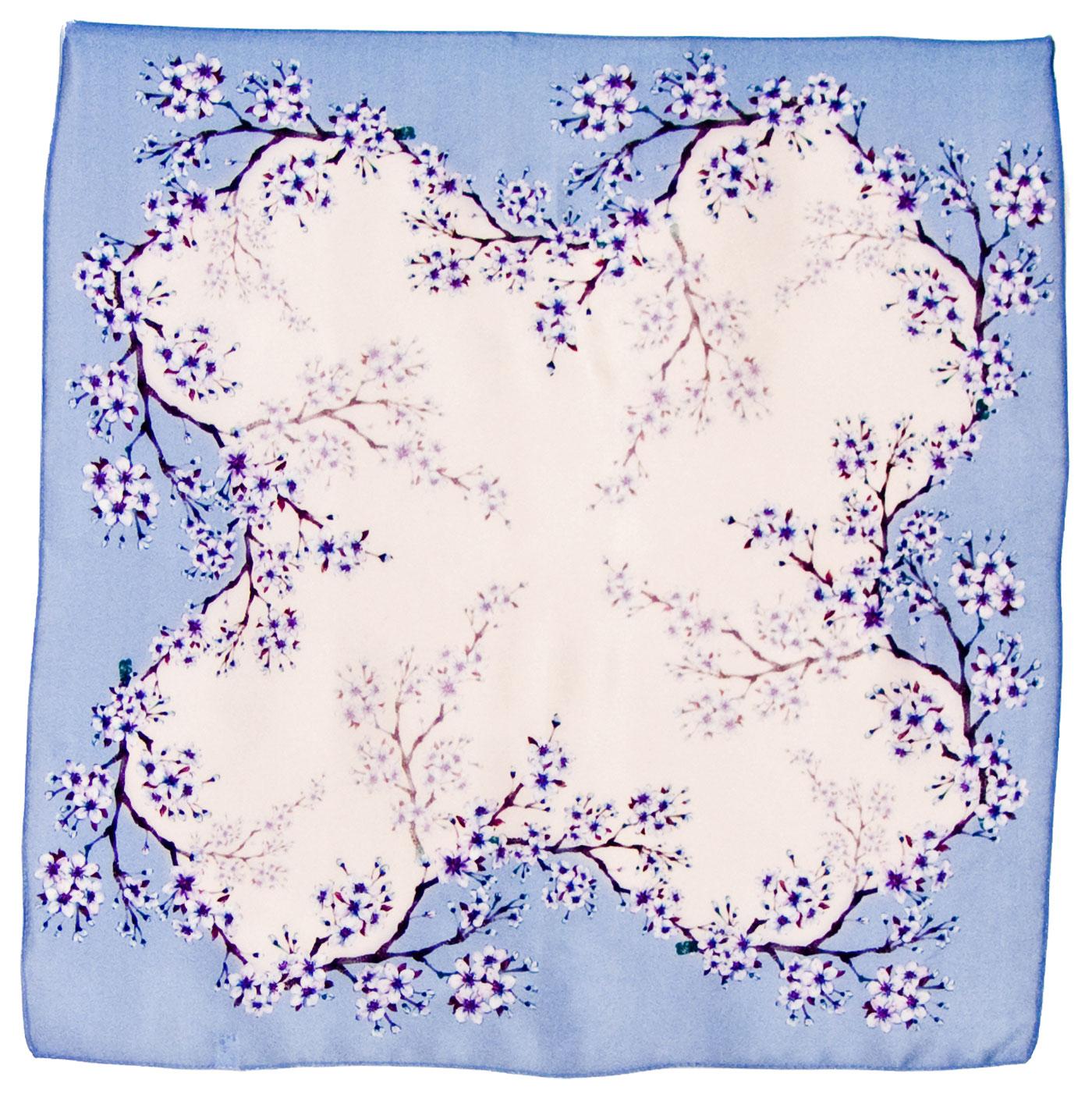 Foulard en soie carré bleu fleurettes 50 x 50 cm
