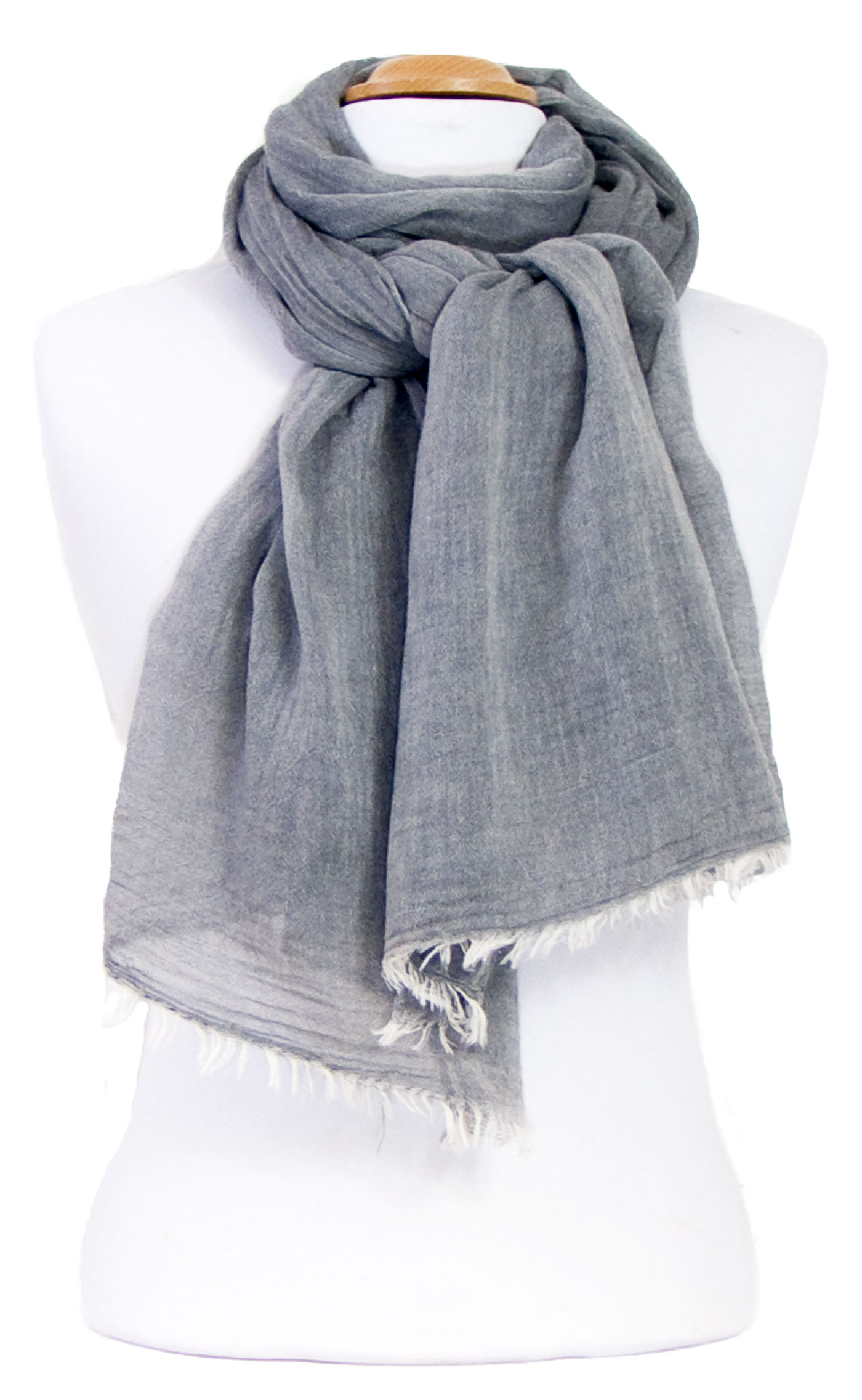 foulard chèche gris coton femme homme