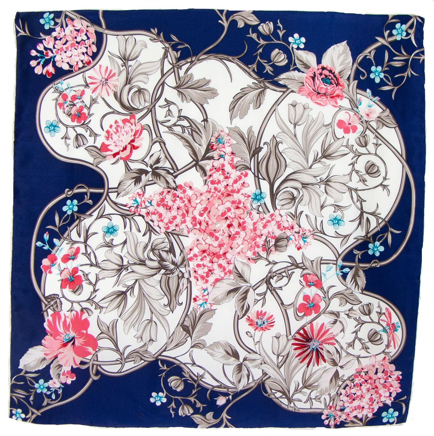 Foulard carré en soie bleu feuilles