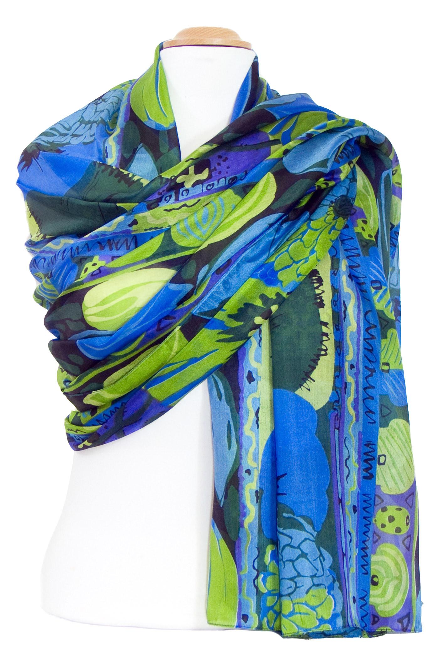 étole soie bleu vert fleurs inés