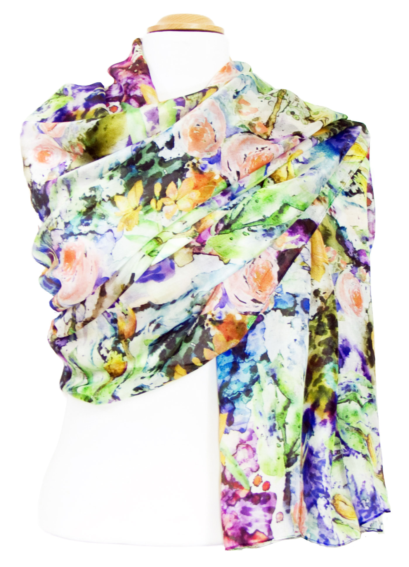 Etole en soie verte fleurie pastel Elane