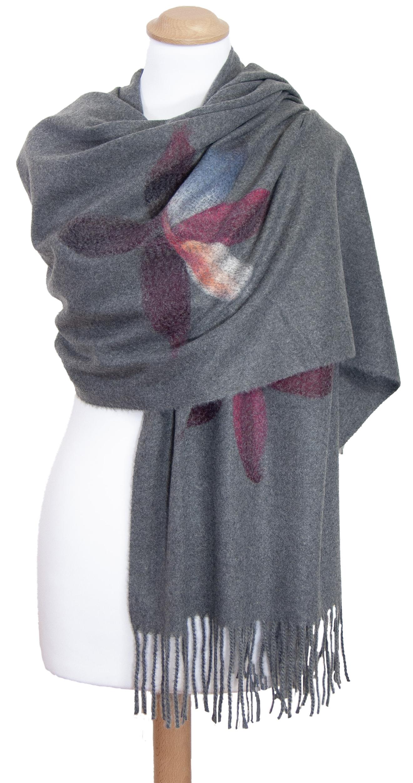 Châle gris laine fleurs Eva
