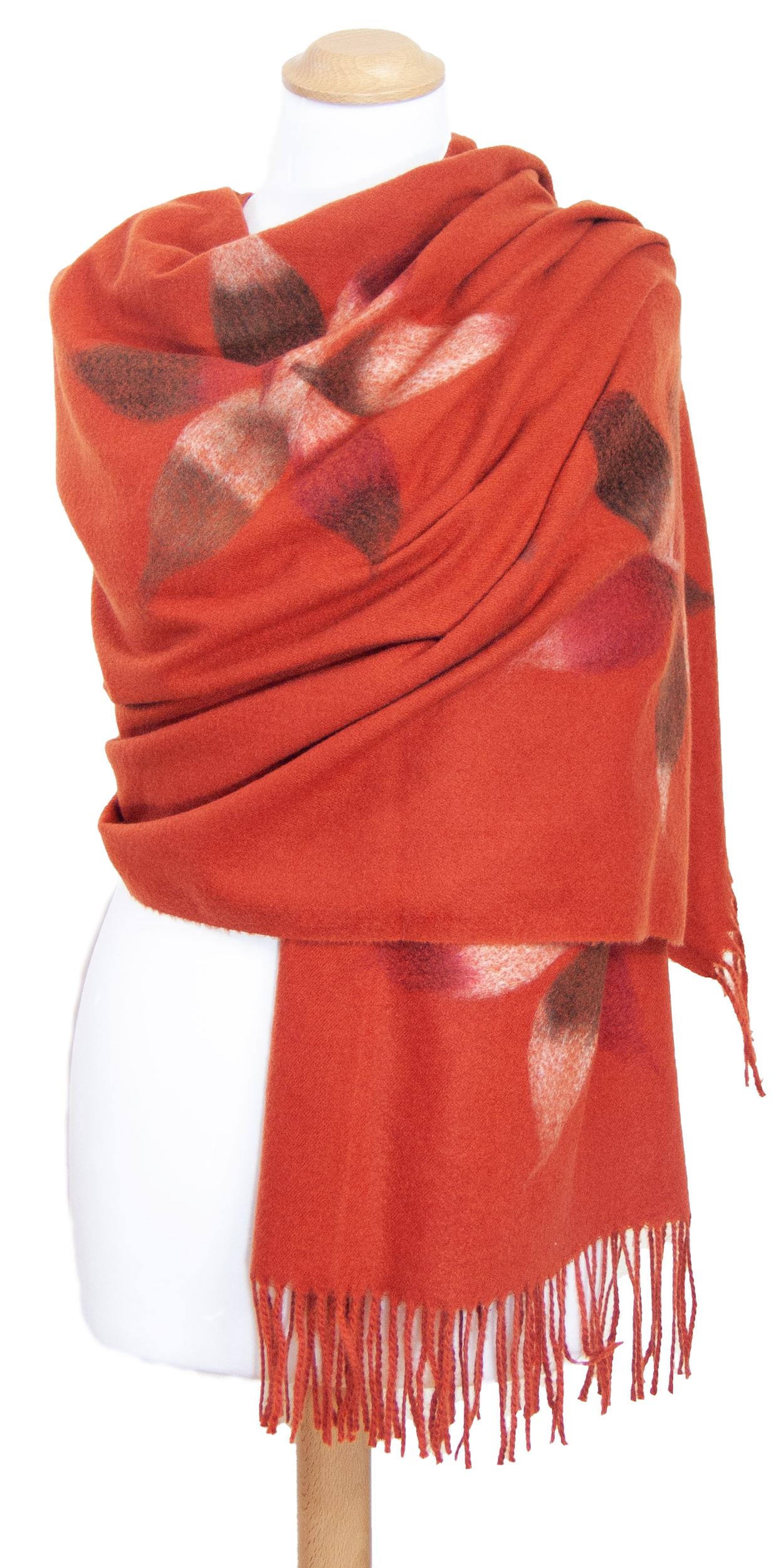 Châle orange laine fleurs Eva