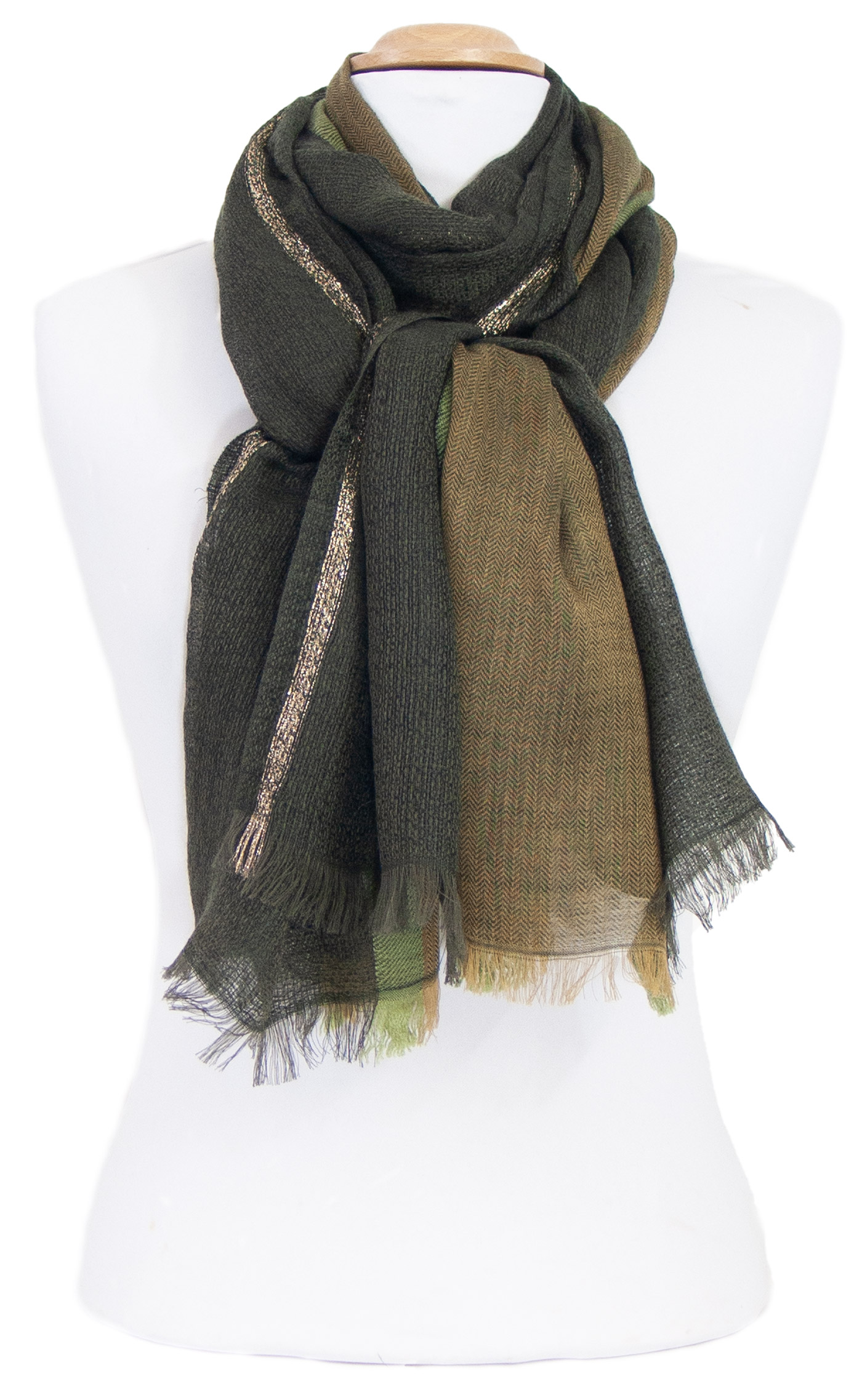 Echarpe laine verte avec lurex Inés