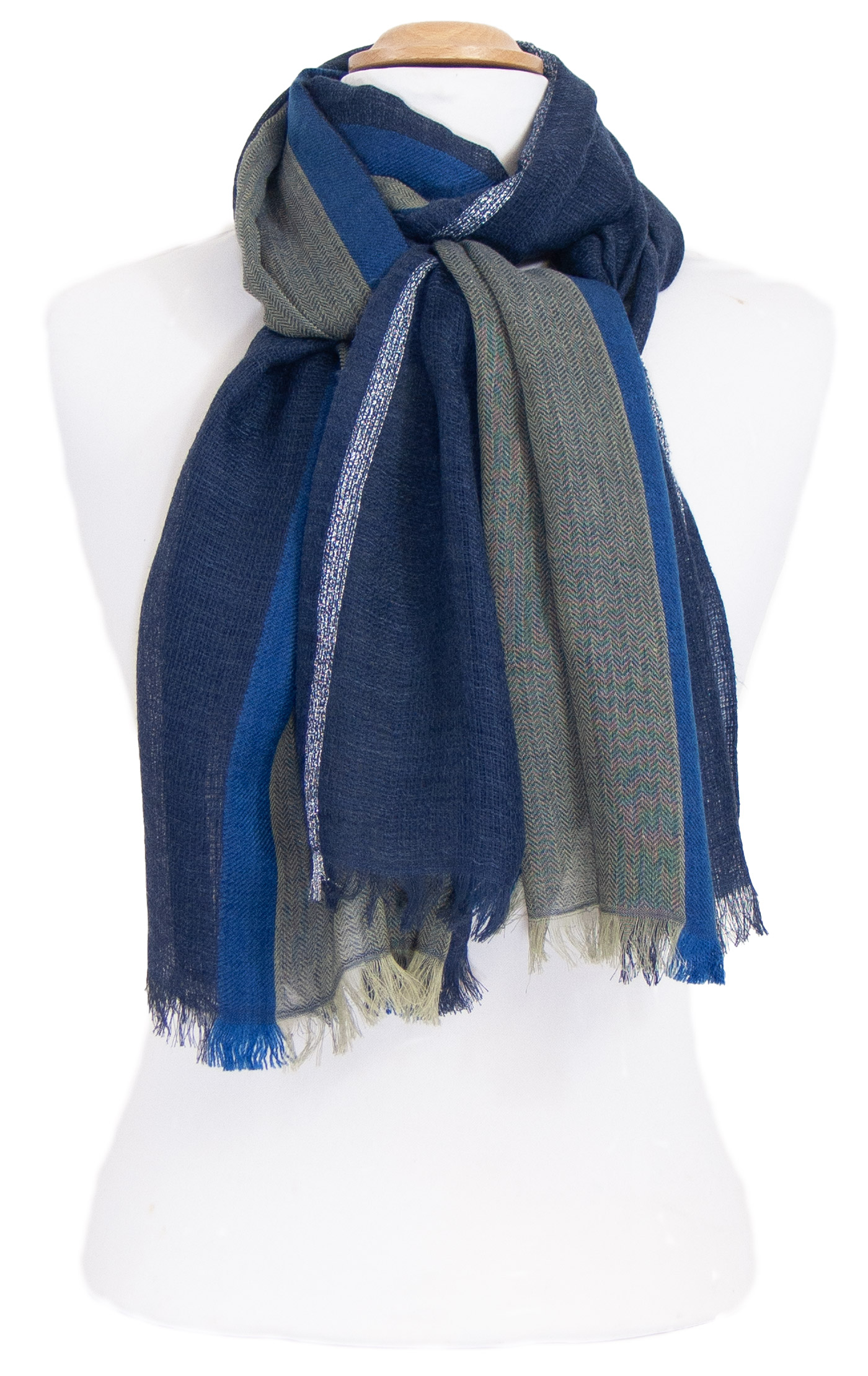 Echarpe laine bleu avec lurex Inés