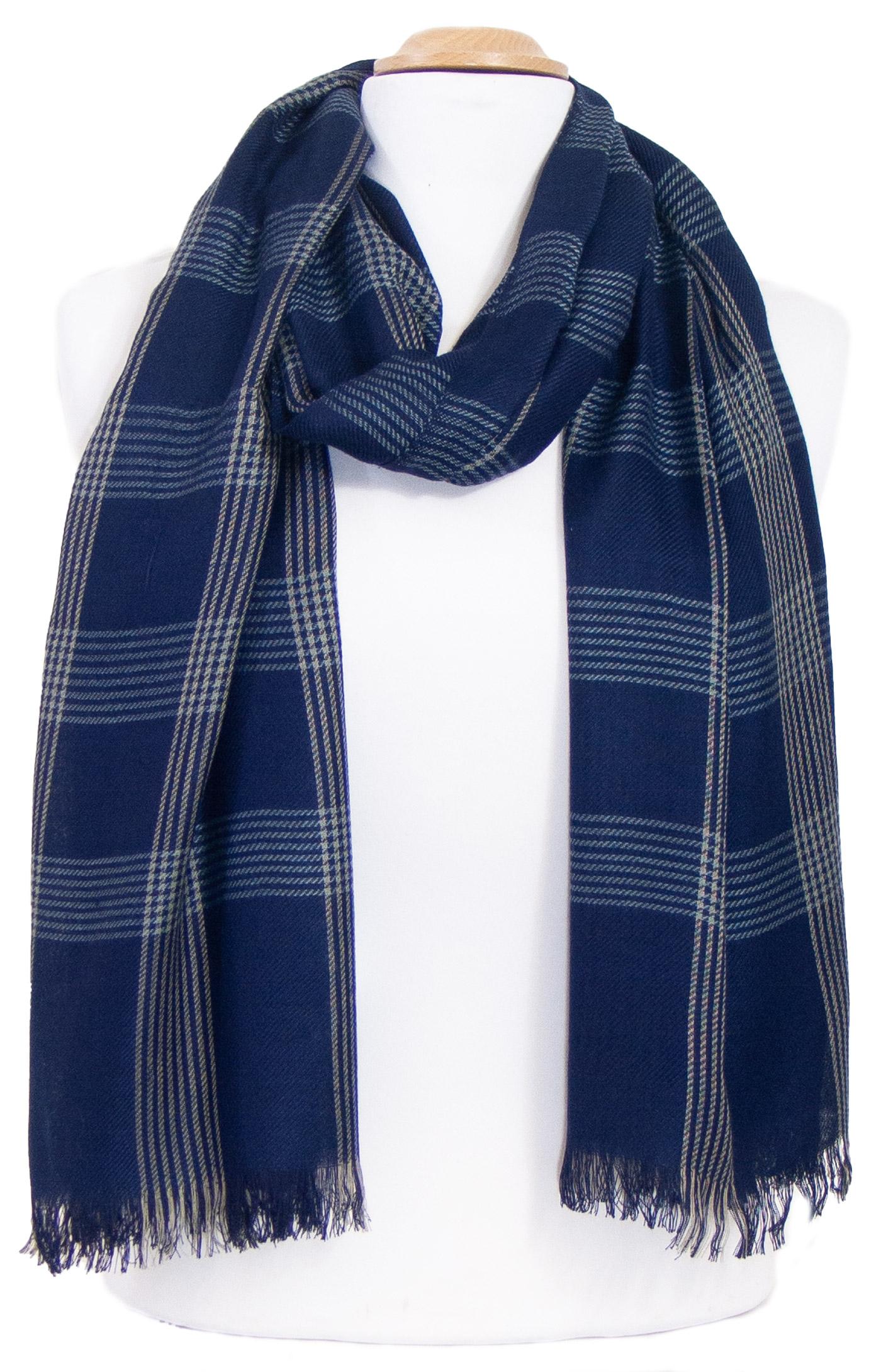 Chèche foulard homme bleu marine carreaux