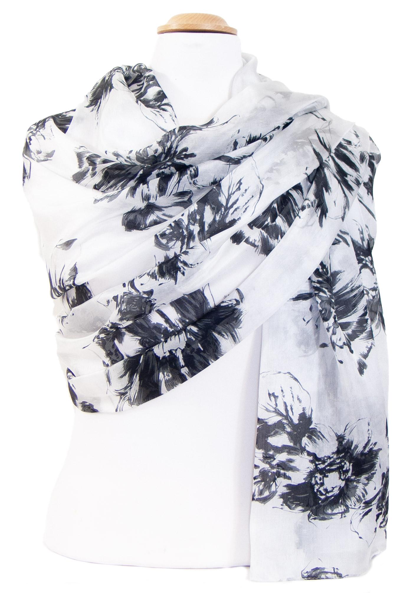 Etole femme soie blanc noir fleurie