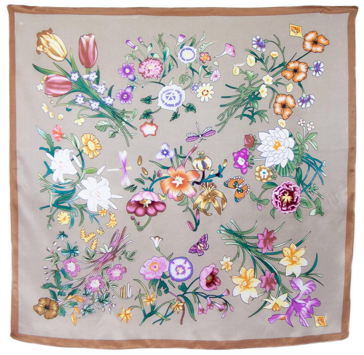 Foulard carré de soie taupe fleuri Laure