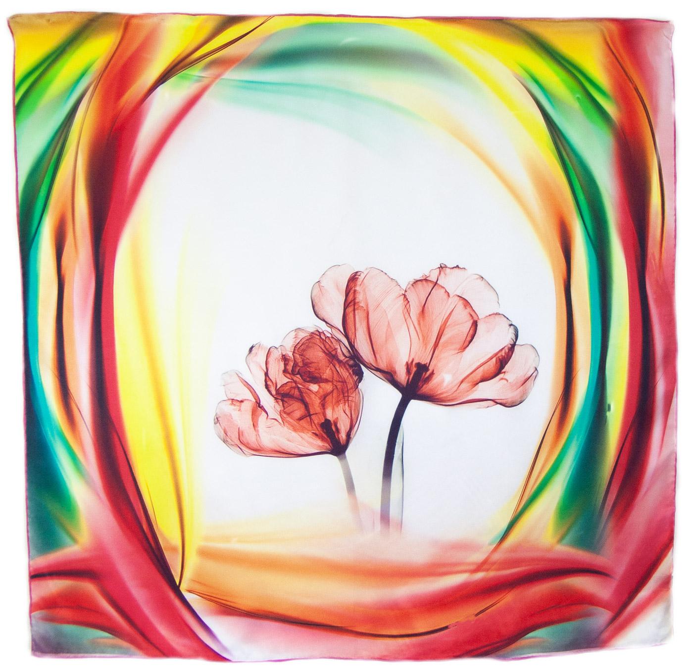 Carré de soie rouge tulipes Alice