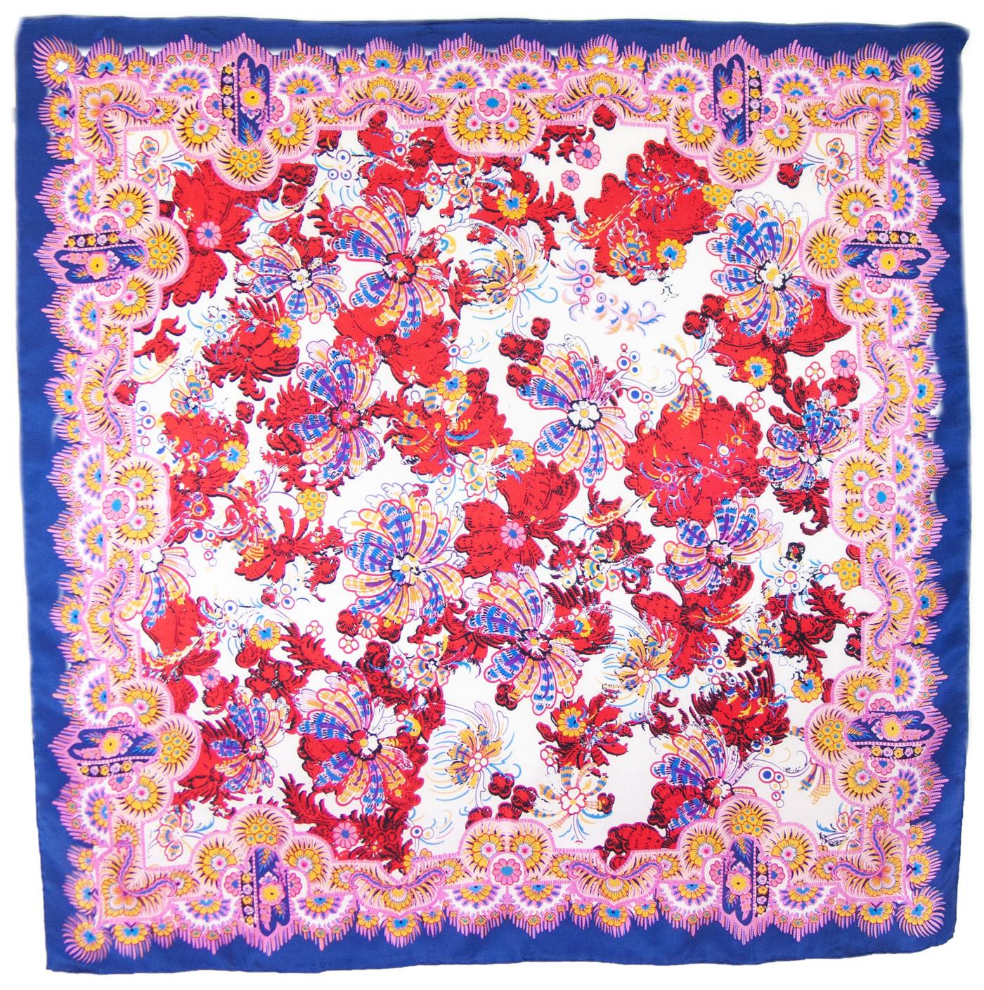Foulard carré de soie rouge fleurs Méli