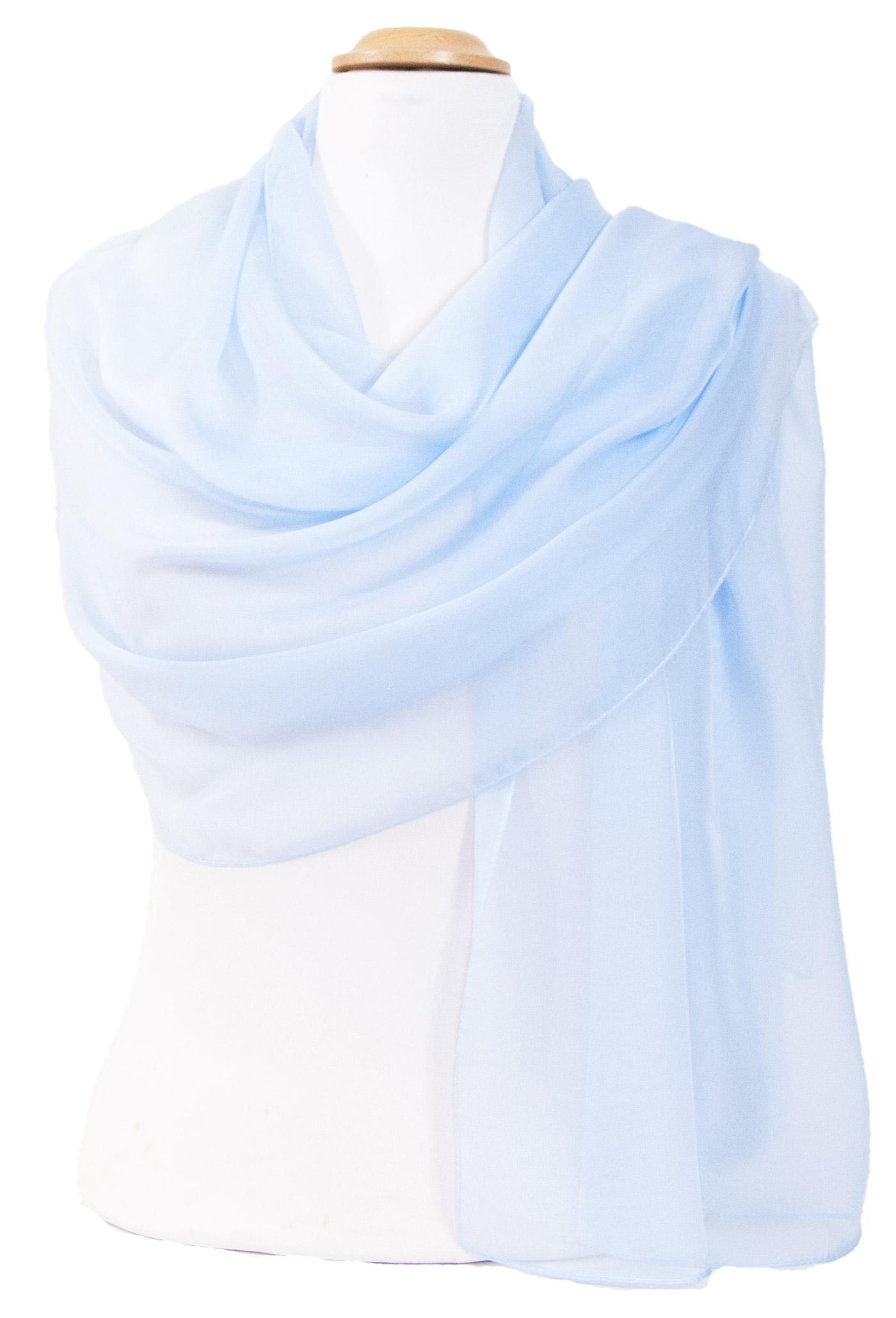 étole femme mousseline de soie bleu ciel