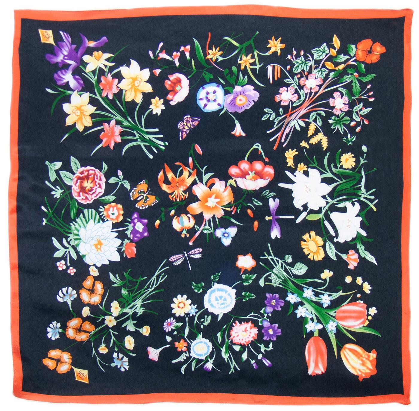 Foulard carré de soie noir fleuri Laure