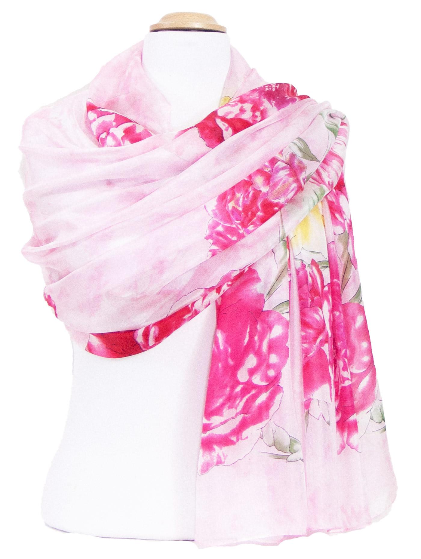 Etole en soie rose pivoines