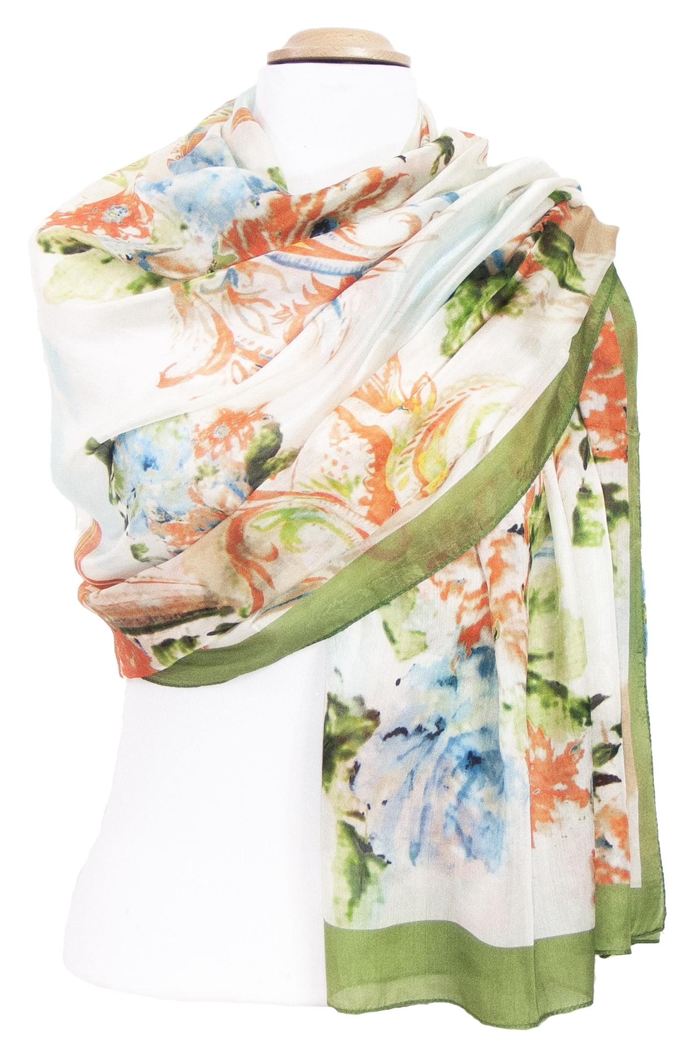 Etole en soie verte fleurie Délia