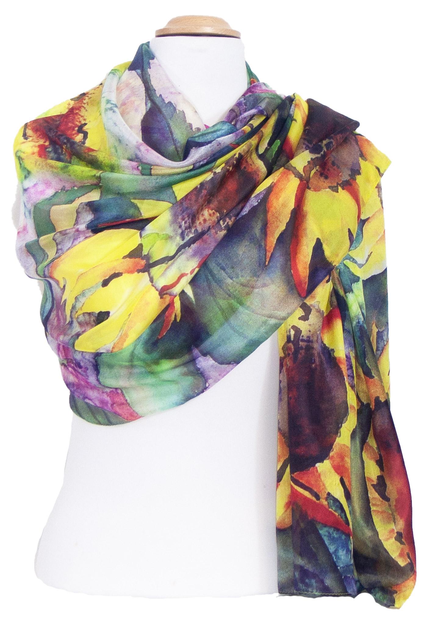 étole femme soie multicolore tournesols