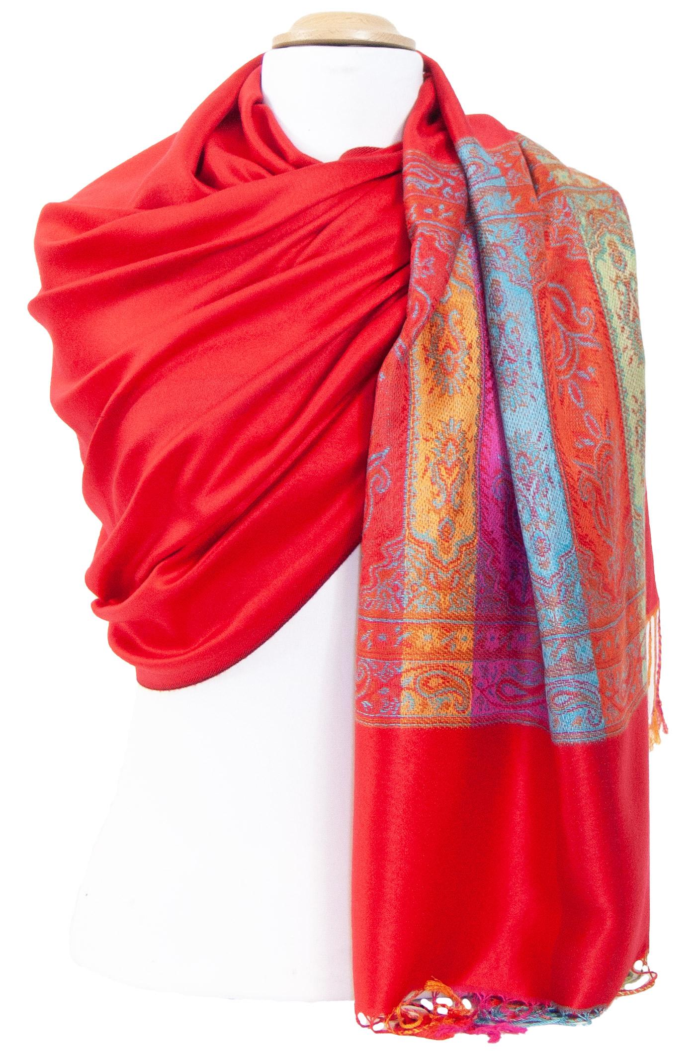 Etole pashmina rouge clair tissage multicolore