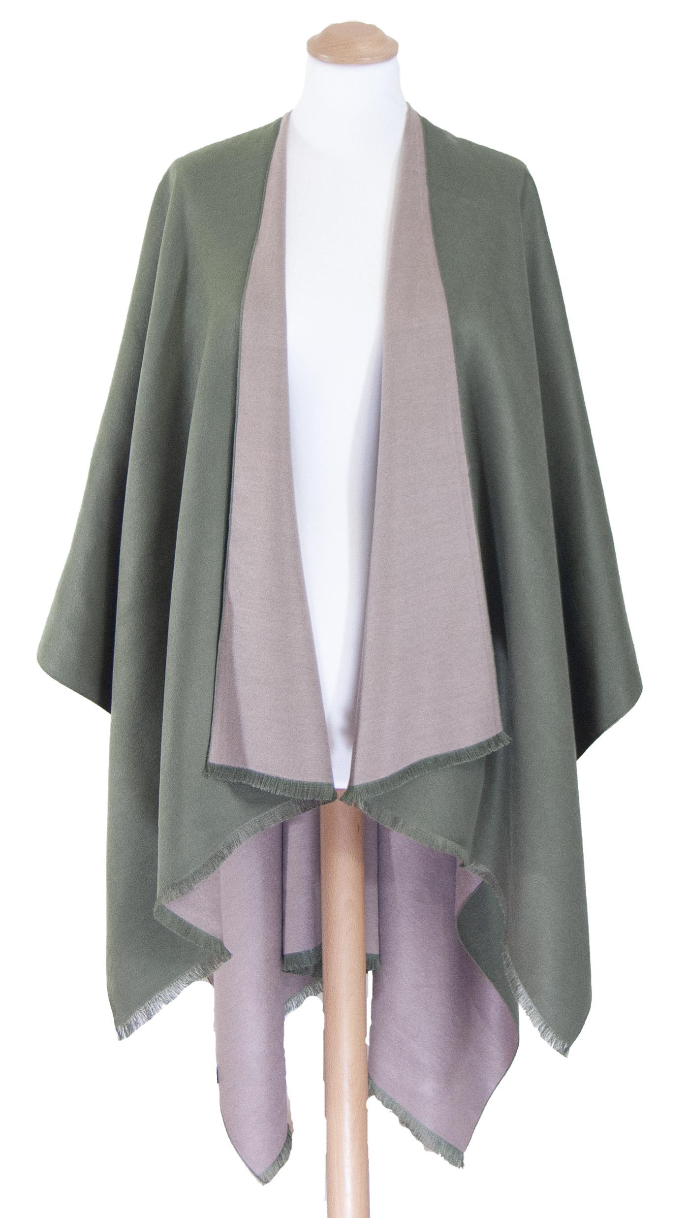 Poncho vert kaki rose grisé réversible