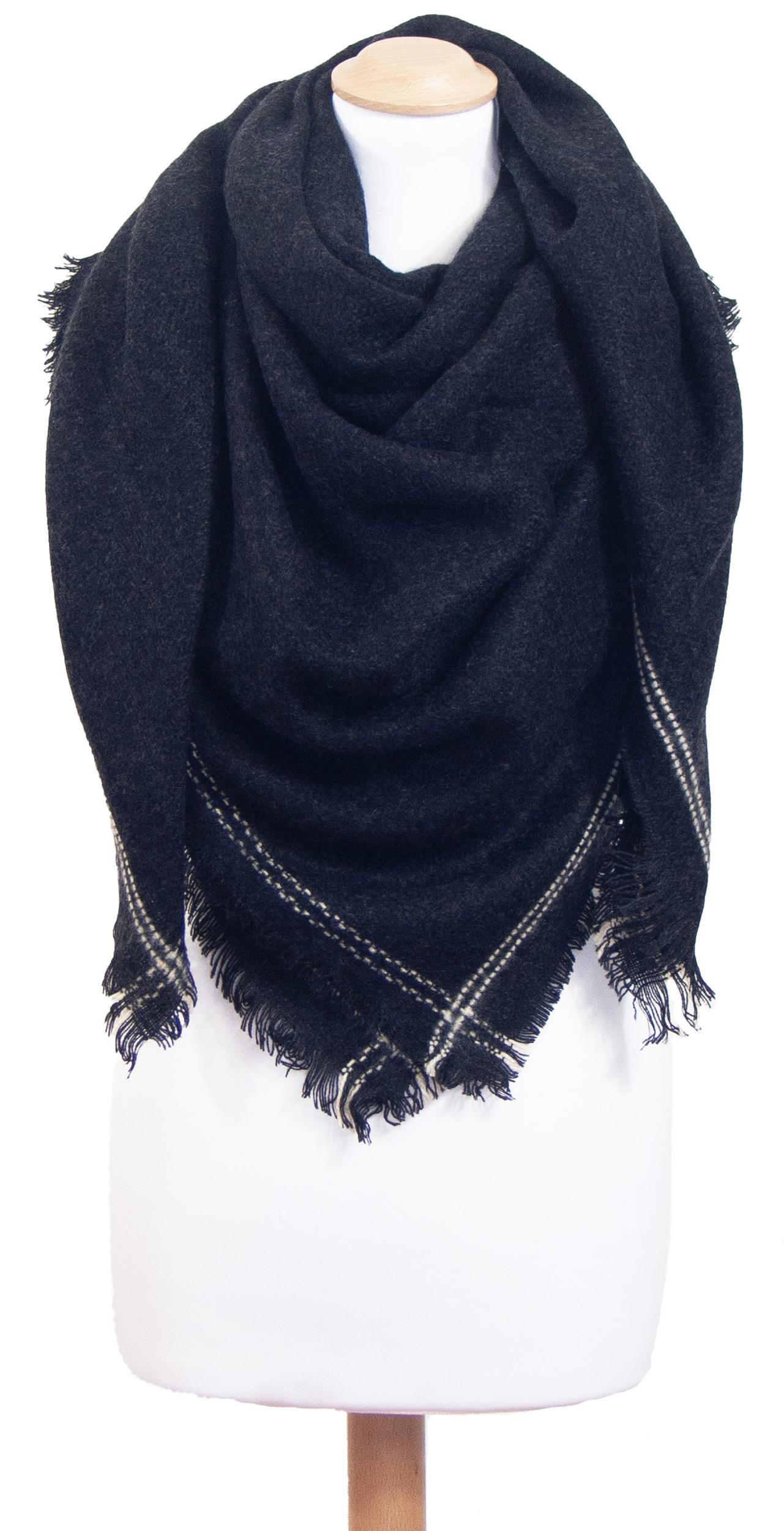 Châle carré noir surpiqûres blanches Lia