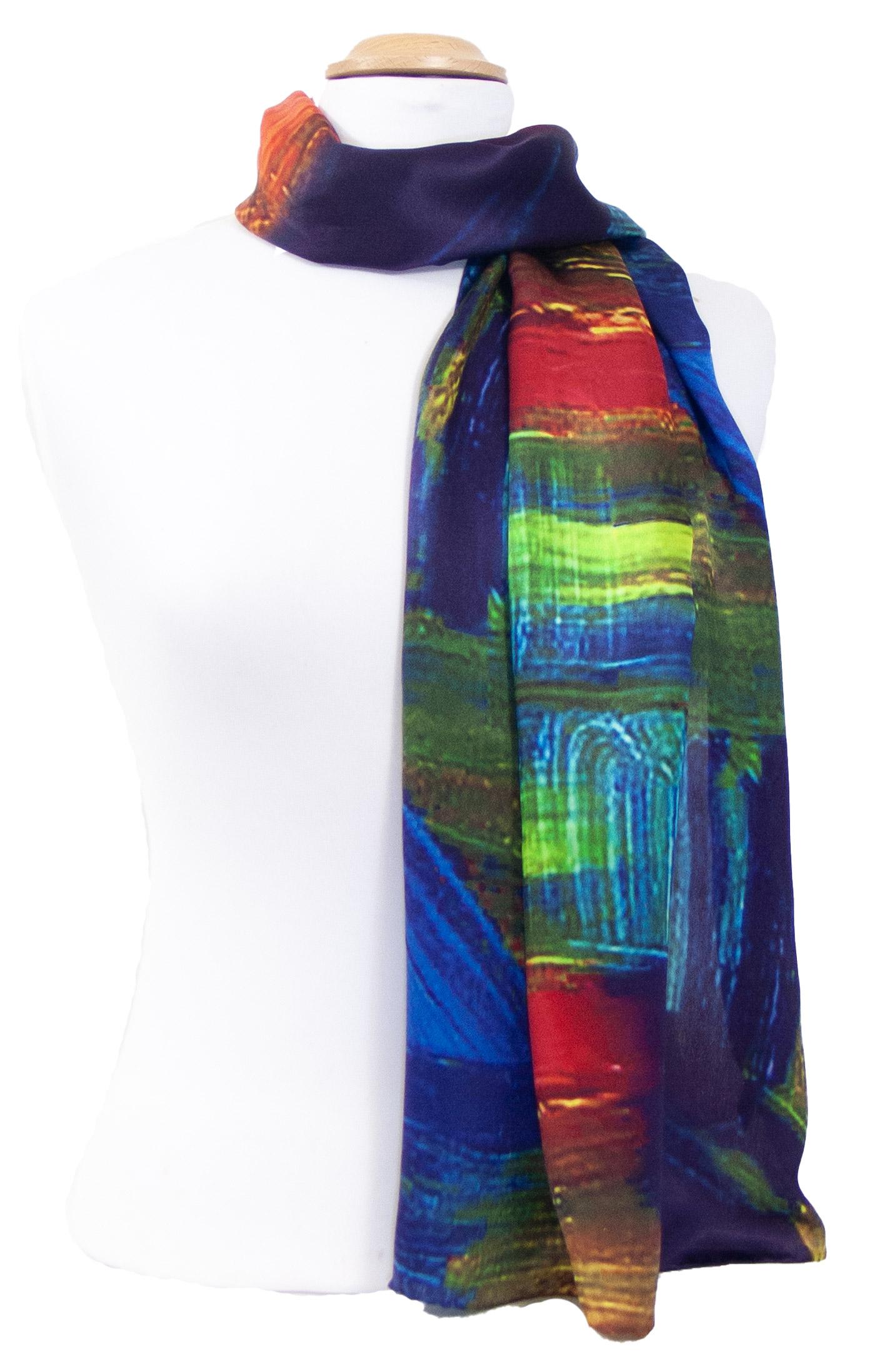 Foulard écharpe soie bleu Arya