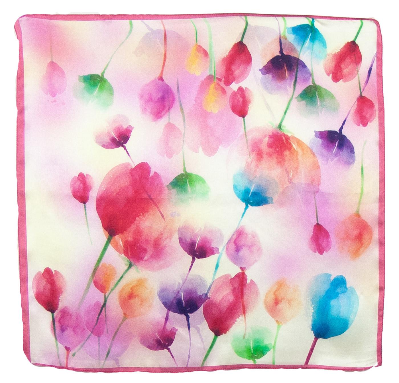 Foulard en soie carré rose tulipes 50 cm