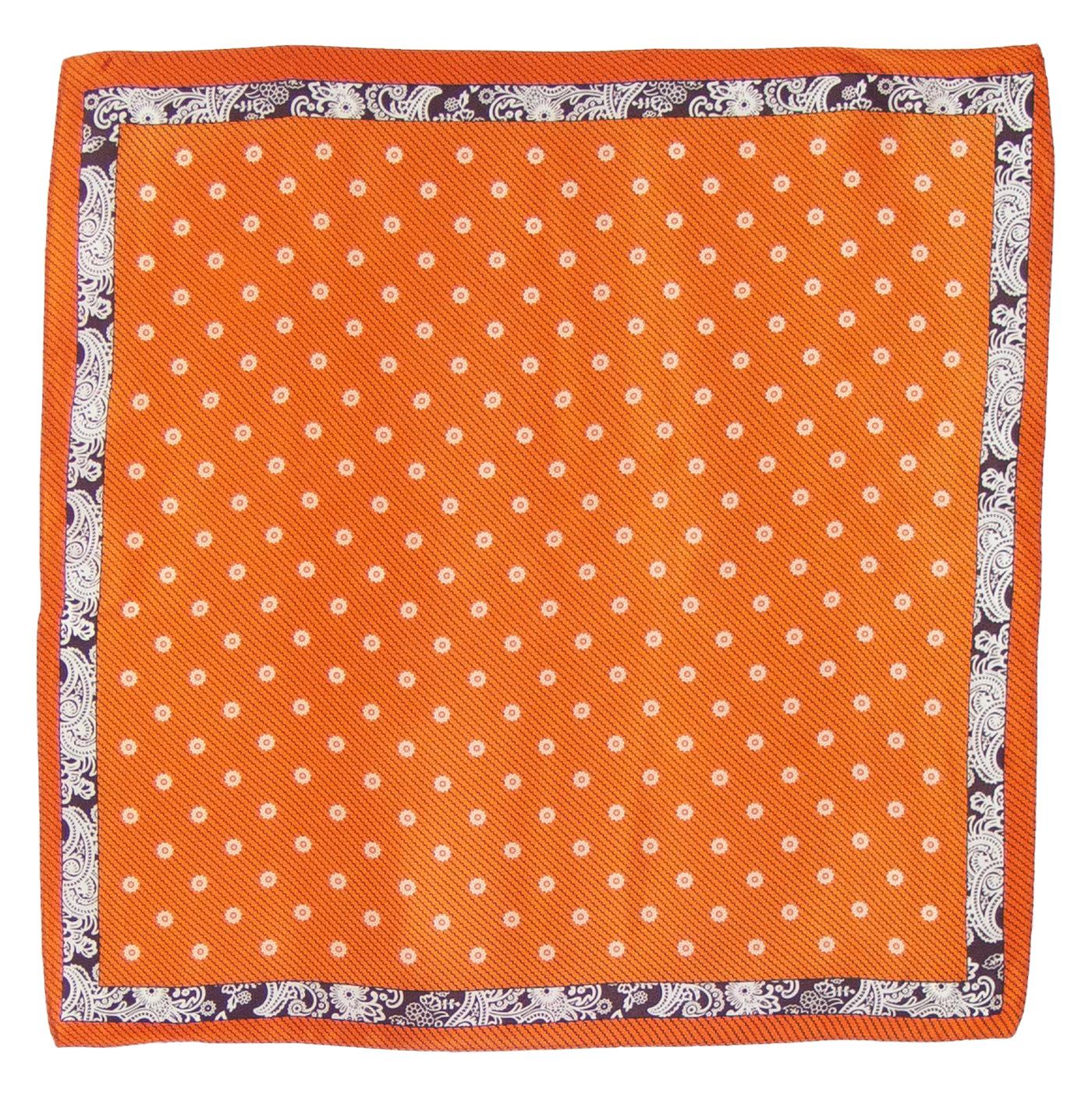 Foulard en soie carré orange Loriane 50 cm