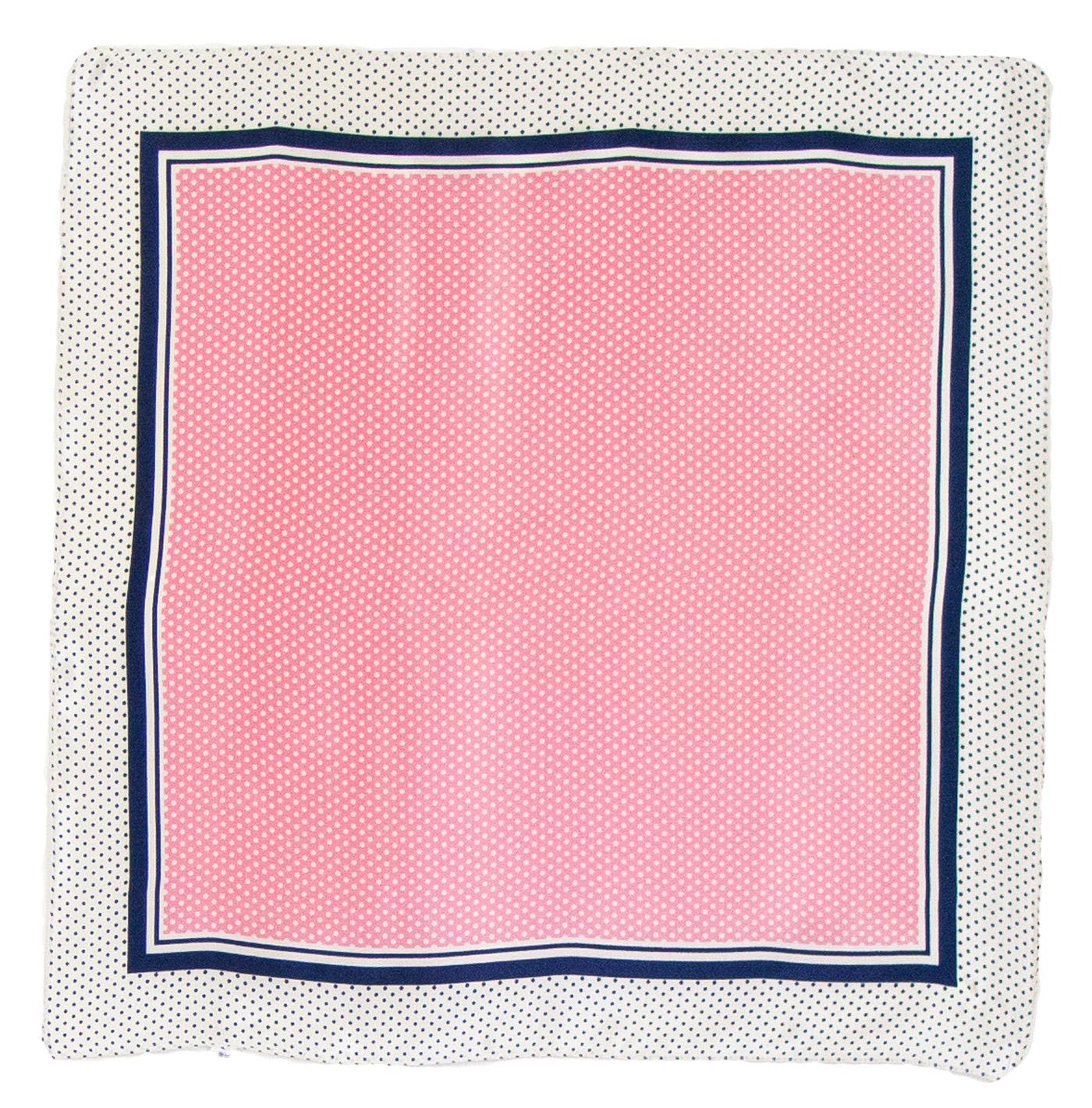 Foulard en soie carré rose pois 50 cm