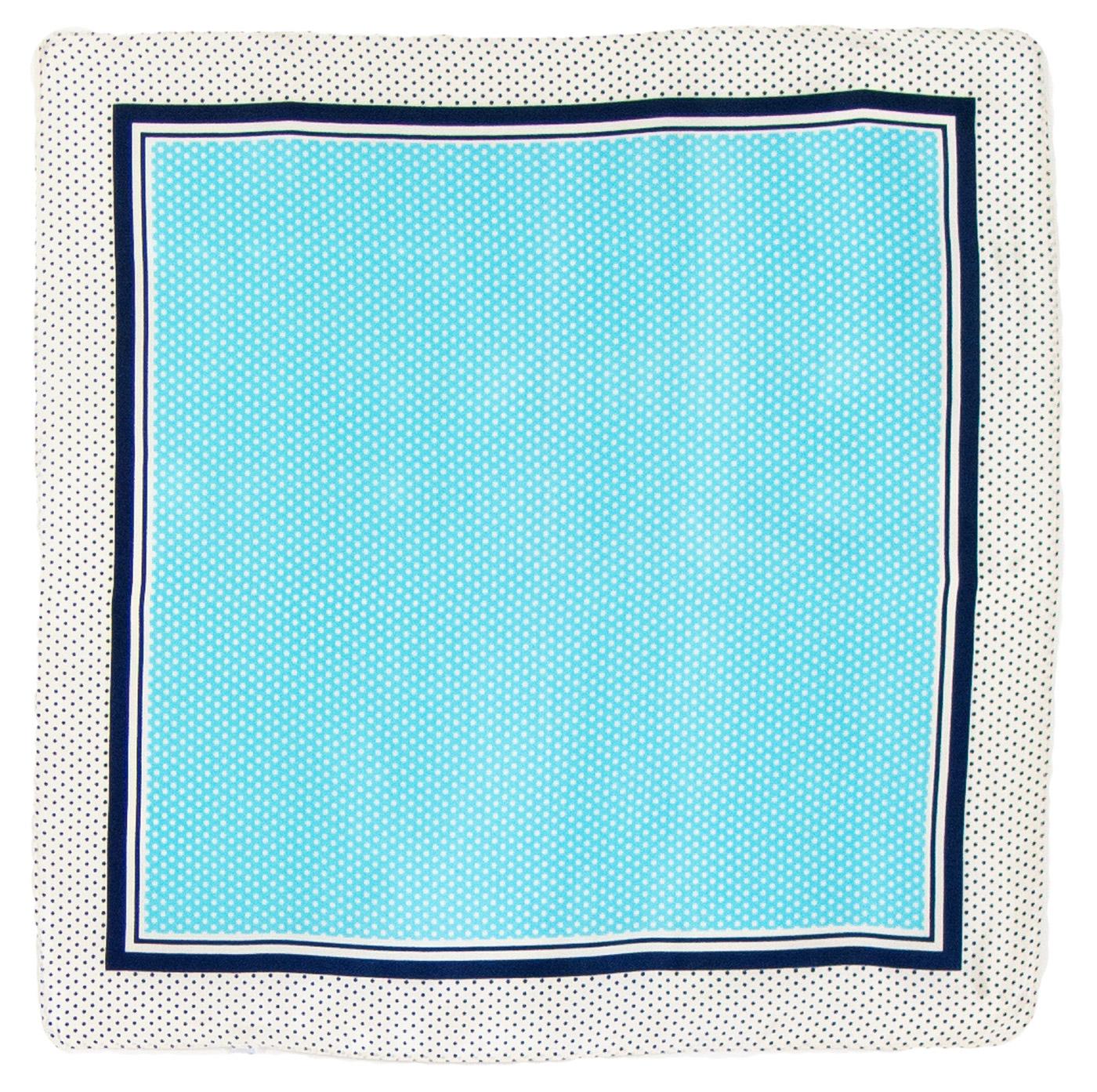 Foulard en soie carré bleu pois 50 cm