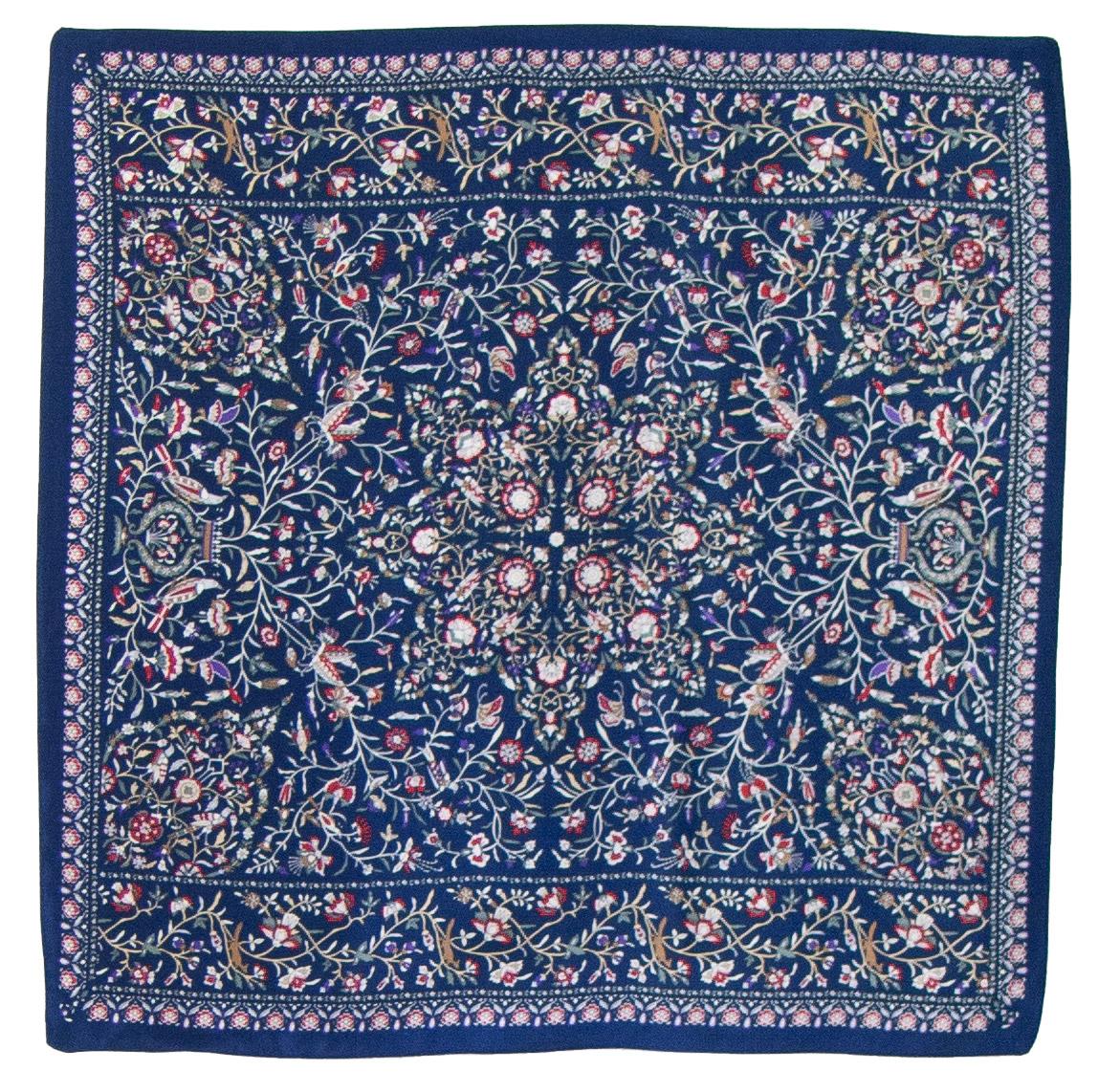 Foulard en soie carré bleu Kassie 50 cm