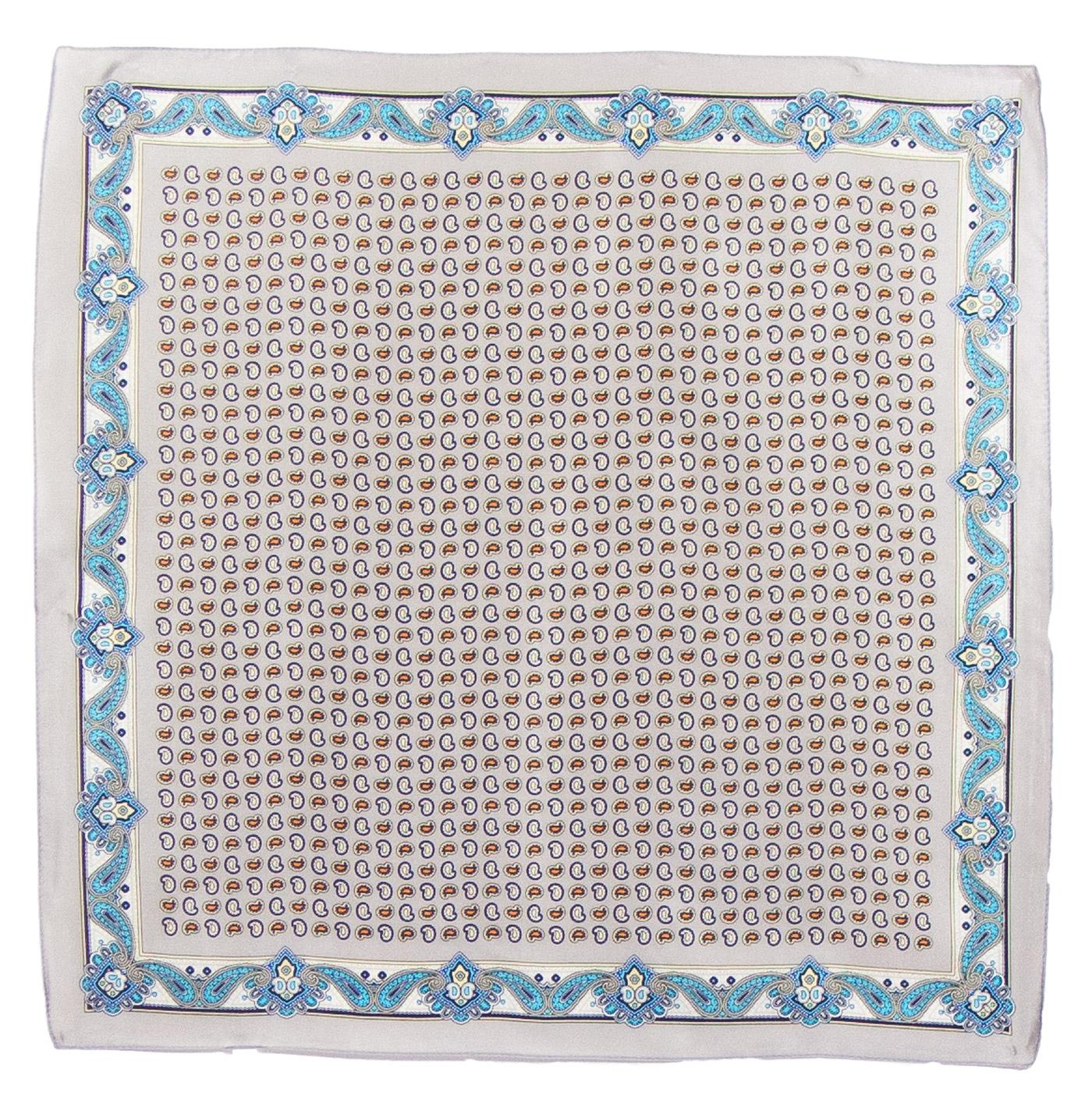 Foulard en soie carré beige Samy 50 cm
