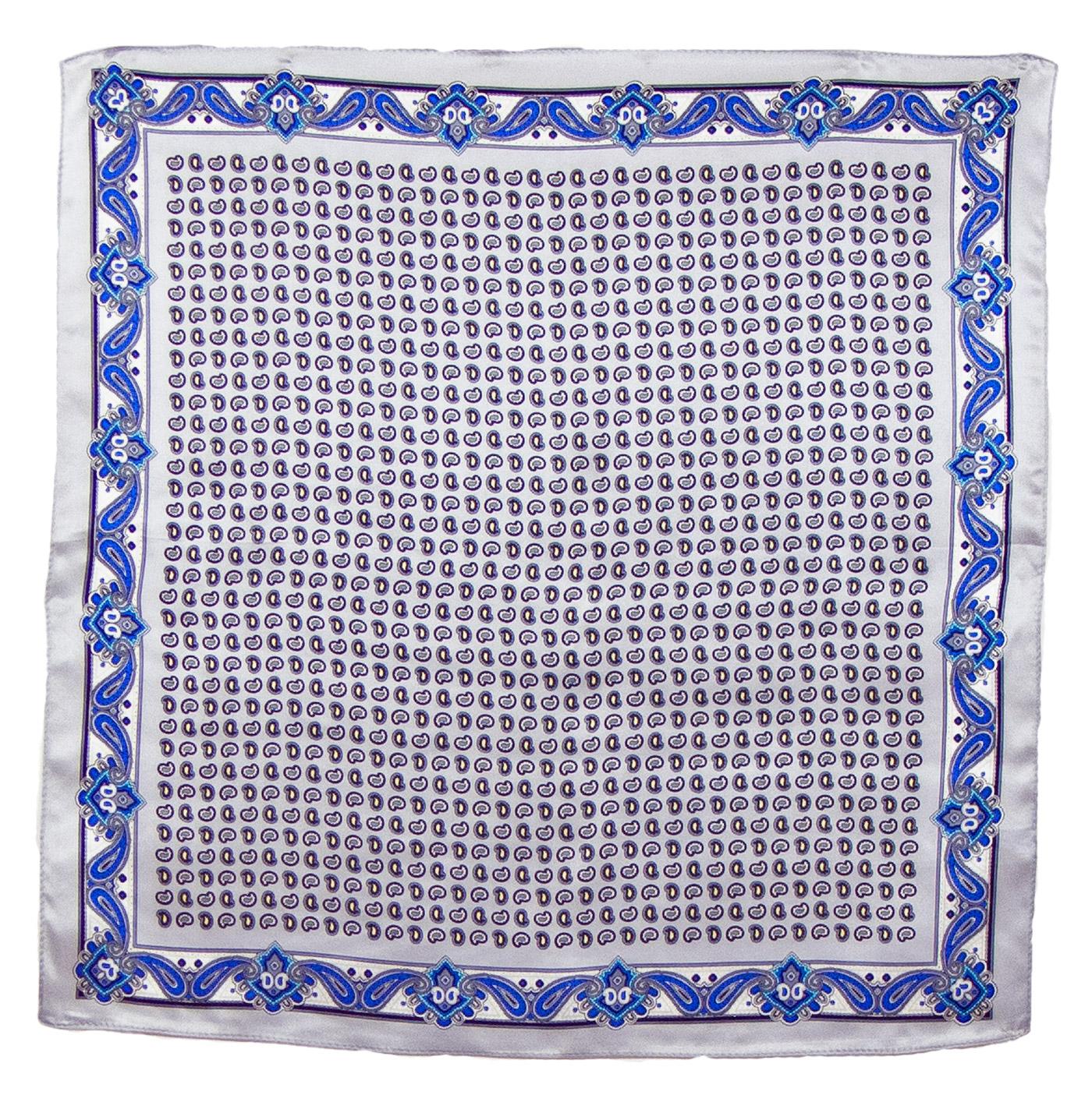 Foulard en soie carré gris Samy 50 cm