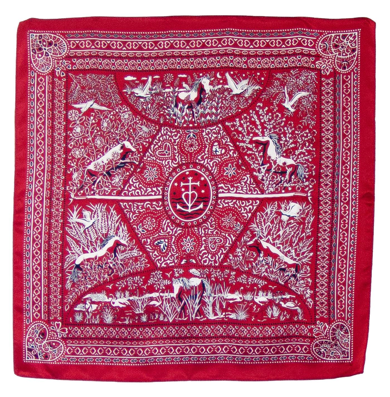 Foulard en soie carré rouge Hena 50 cm