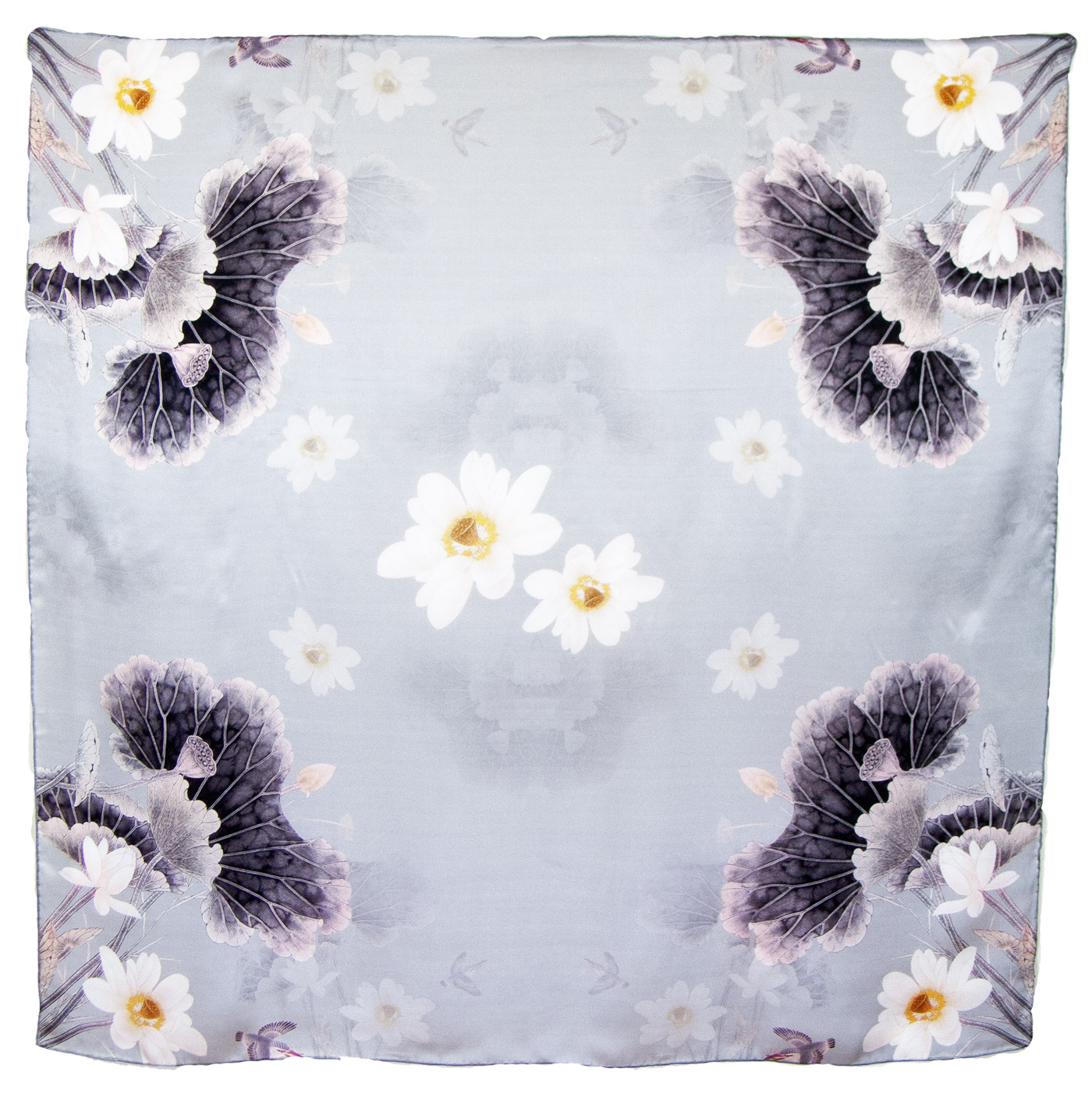foulard carré  en soie gris lotus